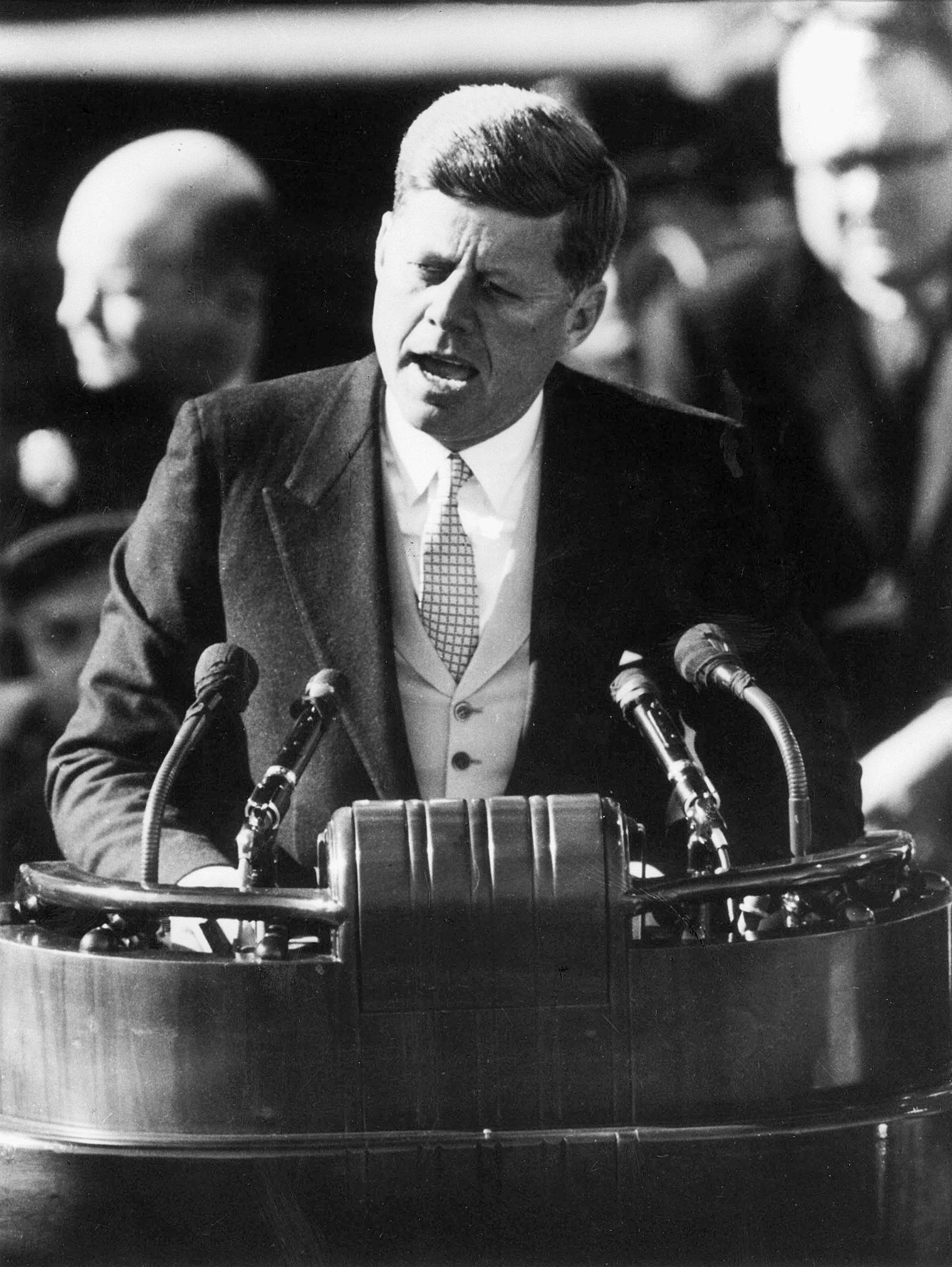 President John F. Kennedy delivers his inaugural address after taking the oath of office at the Capitol in Washington, D.C., in this Jan. 20, 1961 file photo. While on the campaign trail 50 years ago, he spent a day visiting Elgin and other areas in Kane County.