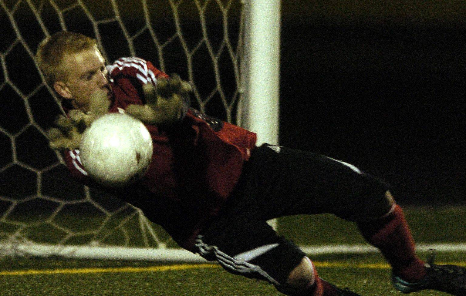 Geneva goalie Steven Soderstrom makes a save during the shoot out Tuesday night against Leyden.