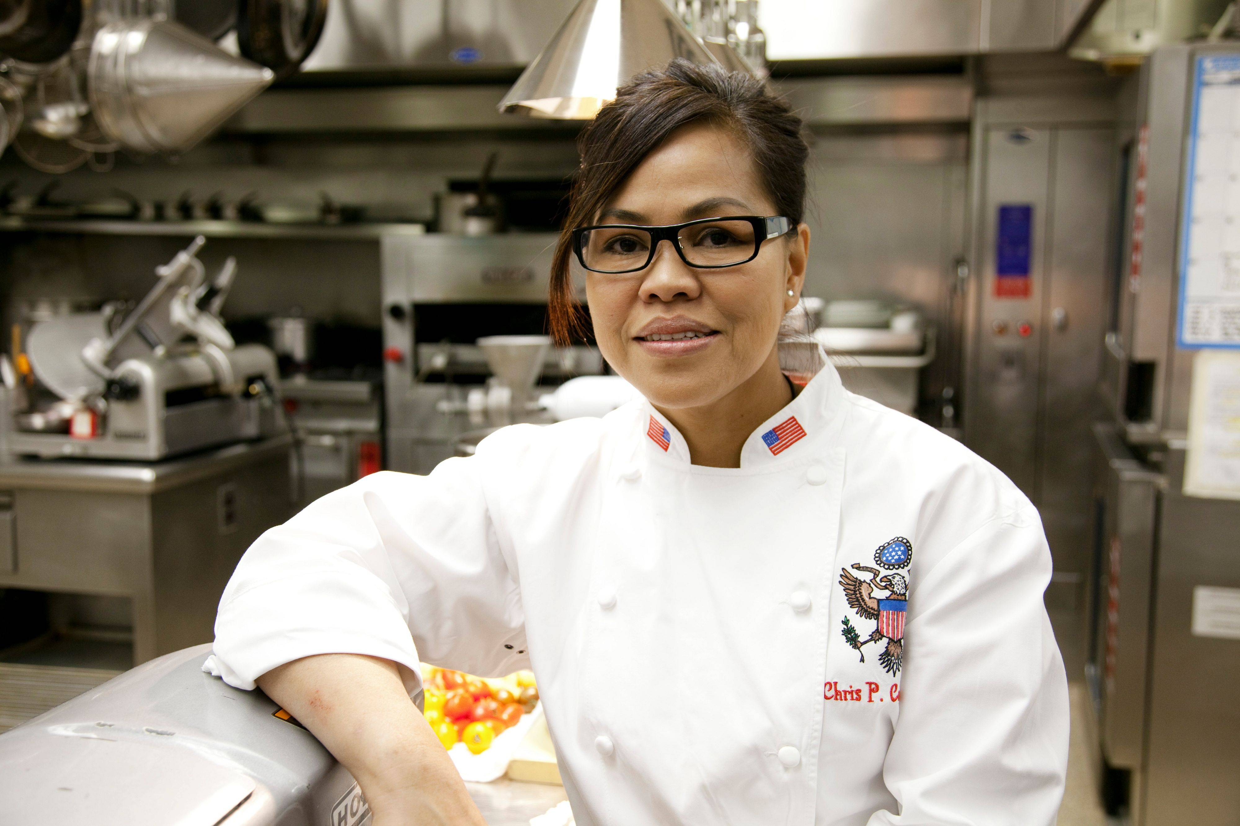 "Cristeta ""Chris"" Comerford studied culinary arts and food technology in the Philippines and landed her first restaurant job at the Sheraton Hotel in Rosemont."