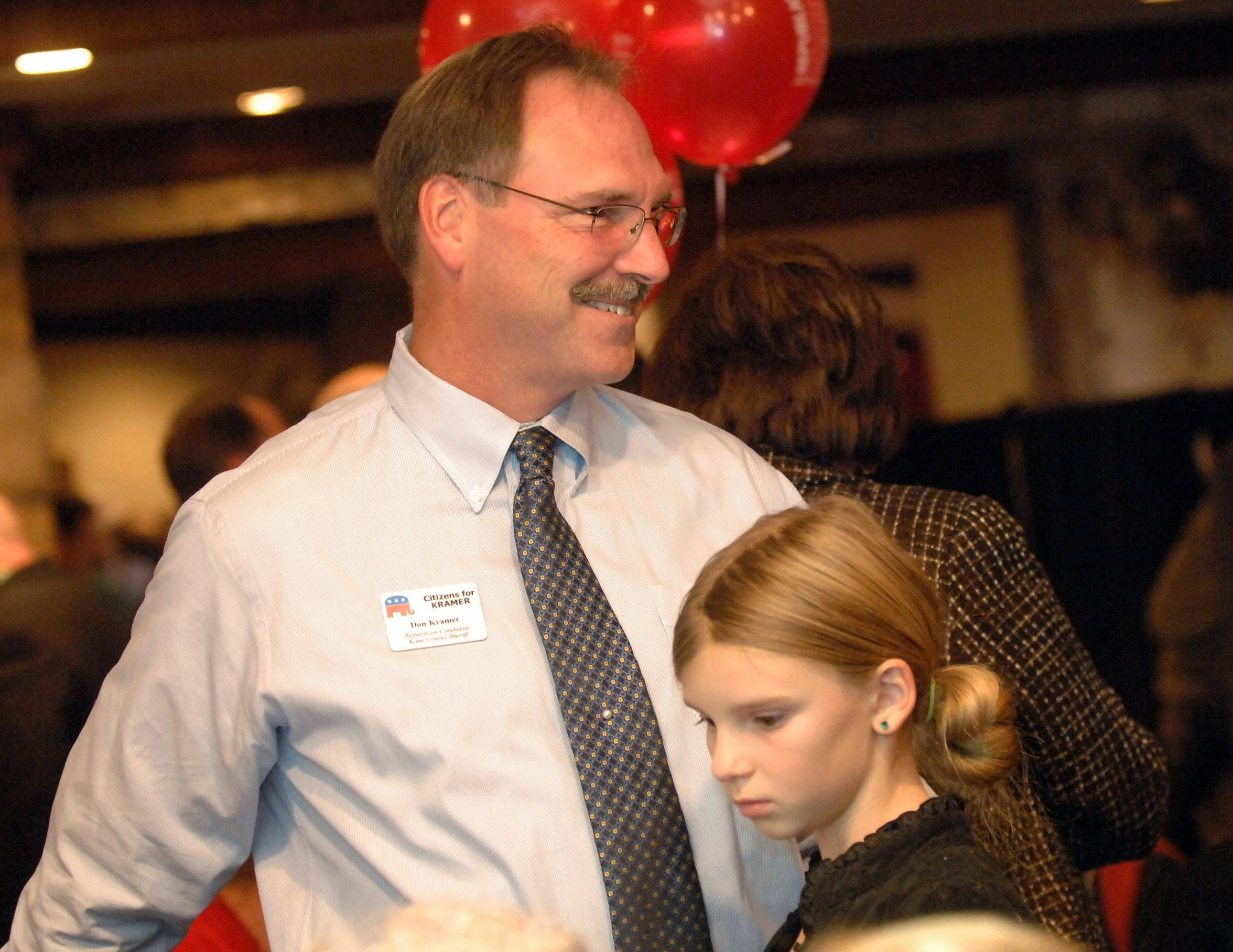 Republican Kane County Sheriff candidate Don Kramer and his daughter Holly wait out results Tuesday at Riverside Receptions in Geneva.