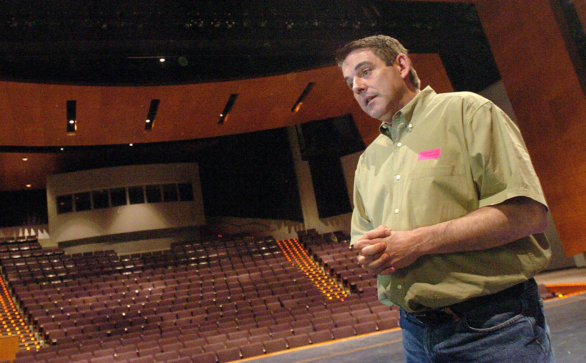 Former Lake Zurich High School drama teacher Ronald D. Culver at the school's Performing Arts Center.