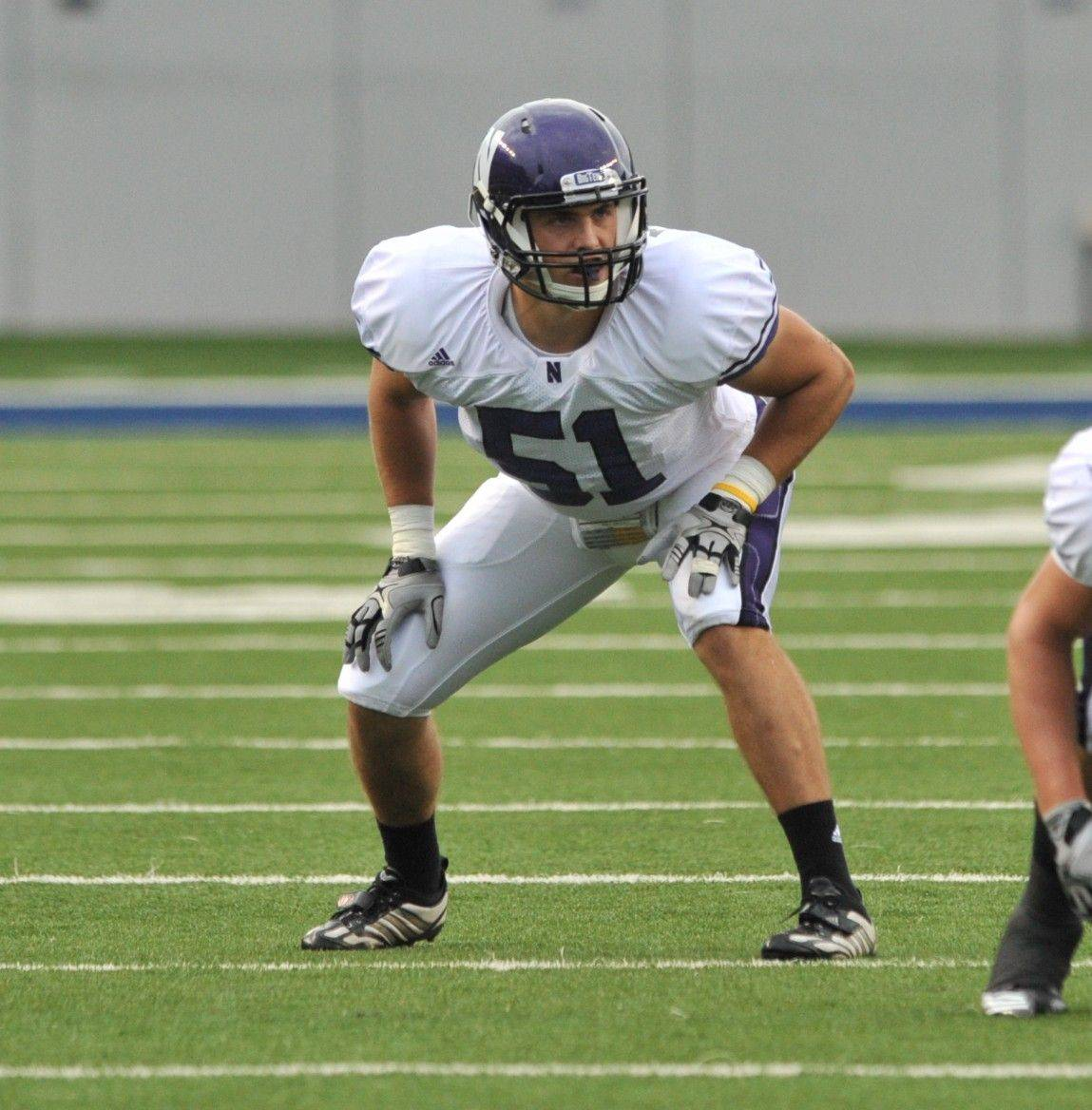 Northwestern weakside linebacker Bryce McNaul against Rice earlier this season.