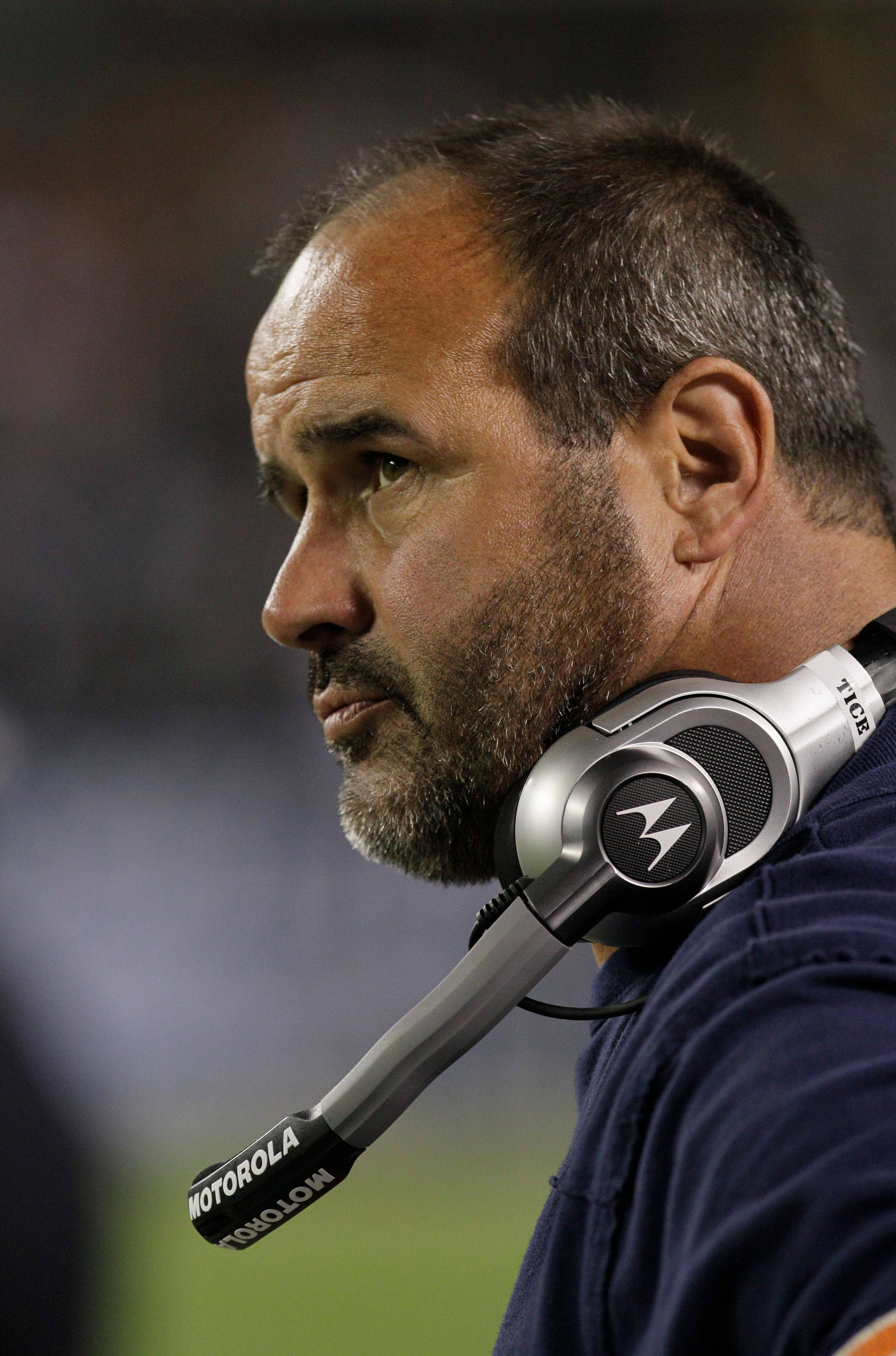 Chicago Bears offensive line coach Mike Tice is seen before an NFL football game Monday, Sept. 27, 2010, in Chicago.