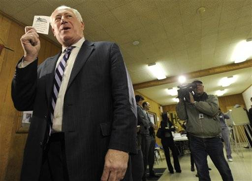 Illinois Gov. Pat Quinn votes at Galewood Community Church in Chicago, Nov. 2.