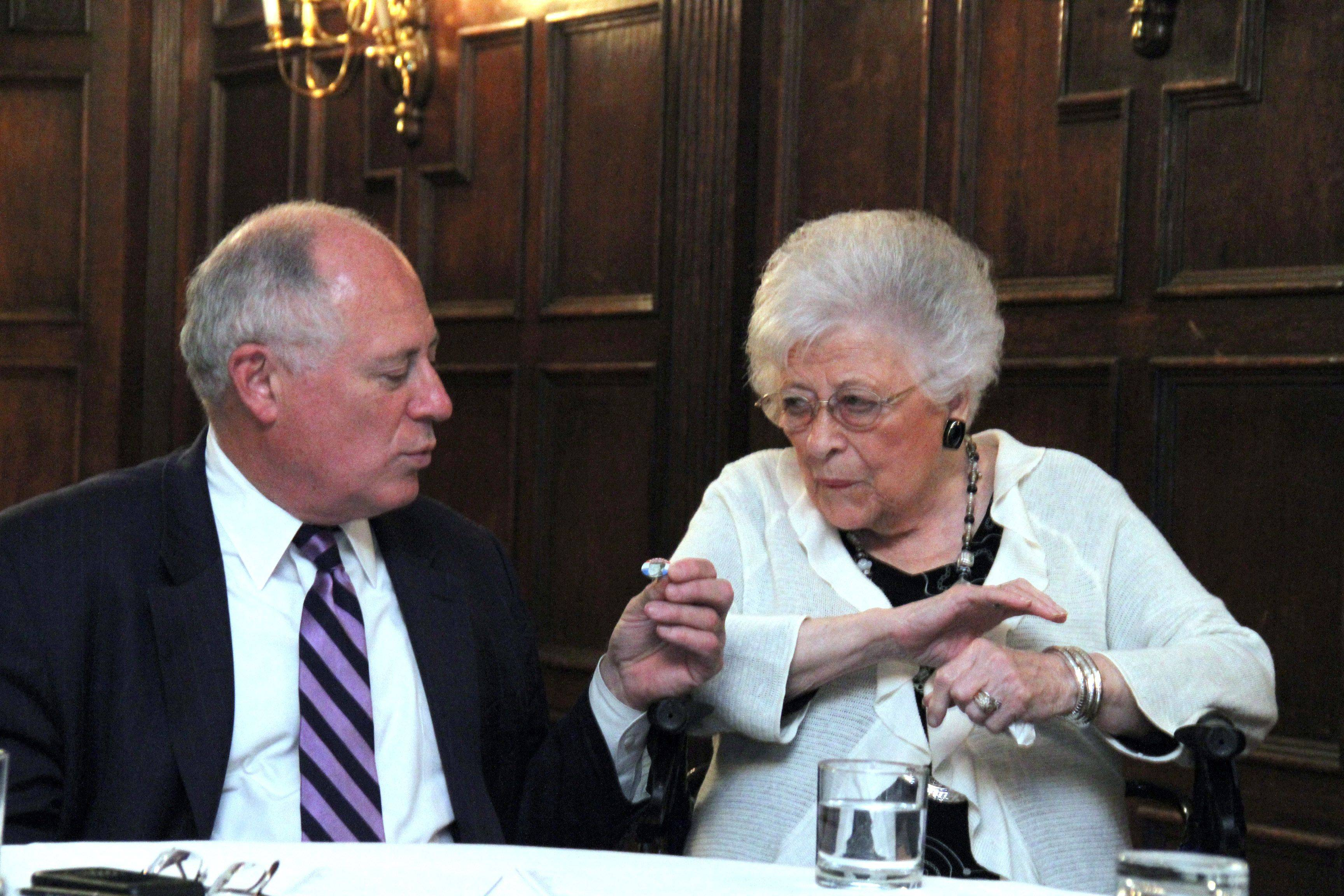 Pat Quinn chats with him mom Eileen recently in Chicago.