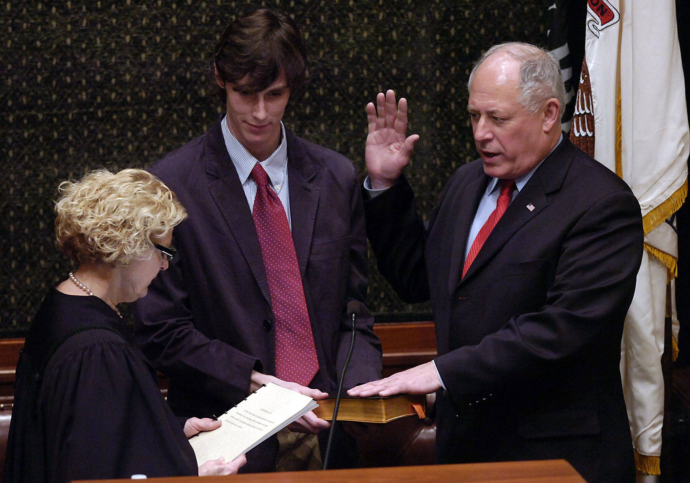 Quinn is sworn in as the governor of Illinois in 2009.