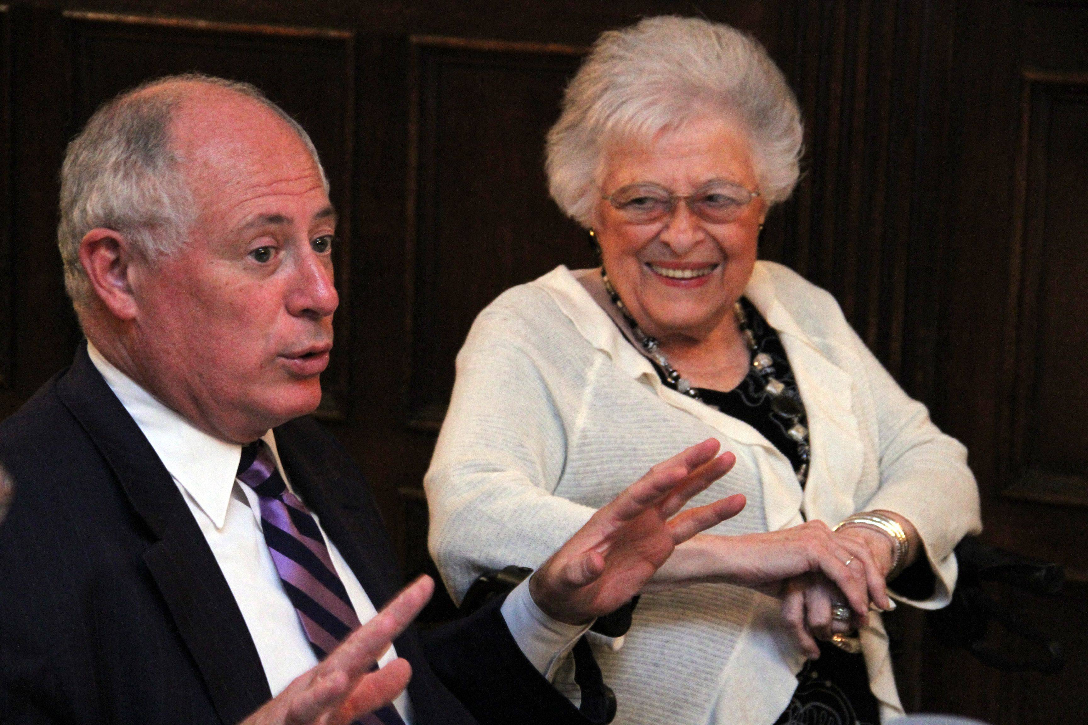 Pat Quinn and his mother, Eileen, talk about his childhood and career during an interview at the Palmer House Hilton in Chicago. For more on the force that Quinn's mom has been in his life, see Page X.