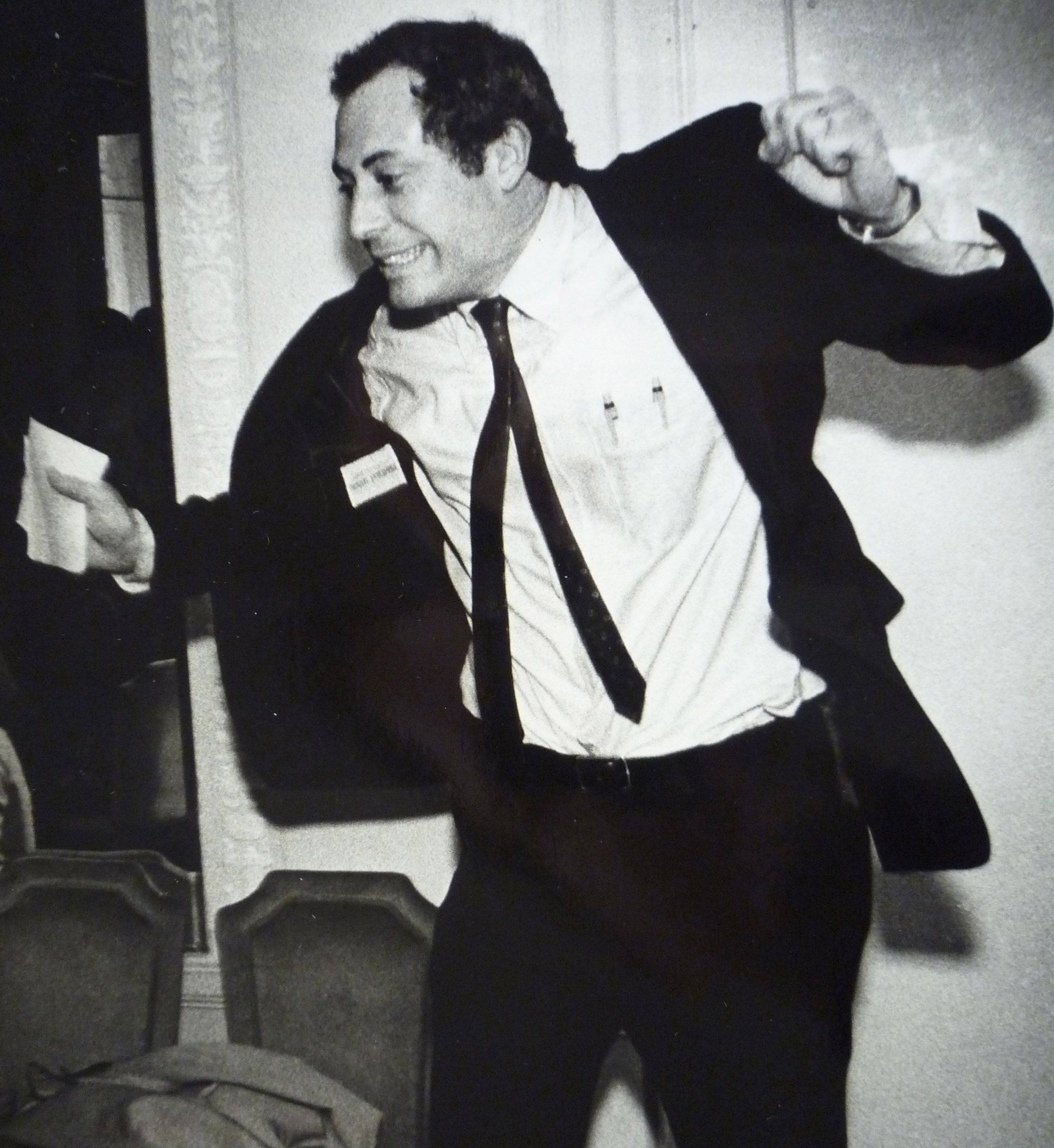 An excited Quinn reacts as early election returns show him doing well in his bid to oust state Treasurer James H. Donnewald in March 1986.