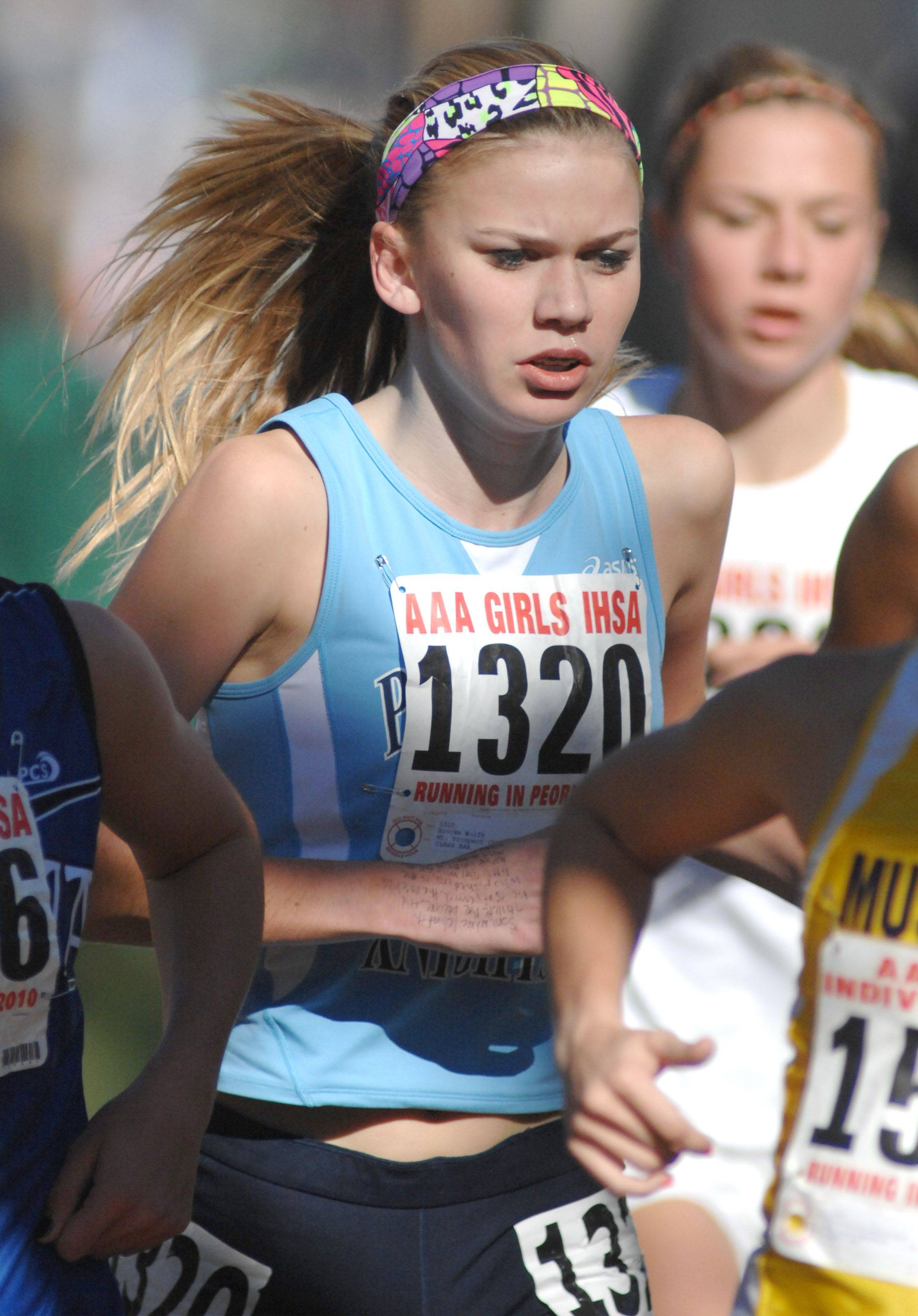 Prospect High School's Brooke Wolfe in the 3A class at the state cross country in Peoria on Saturday, November 6.