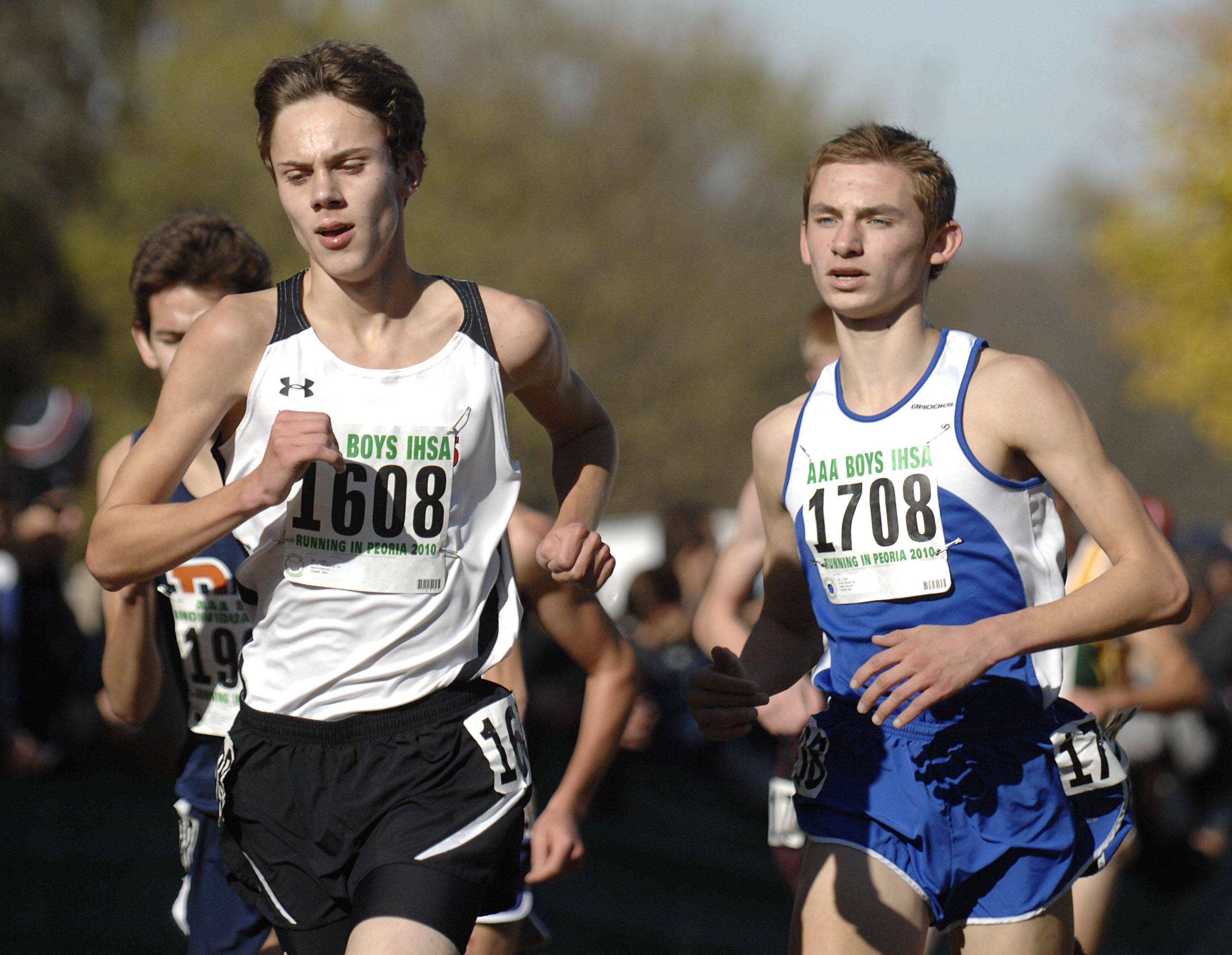 Barrington's Erik Peterson and Lake Zurich's Alex Brend in the 3A class of the state cross country meet at Detweiller Park in Peoria on Saturday, November 6.