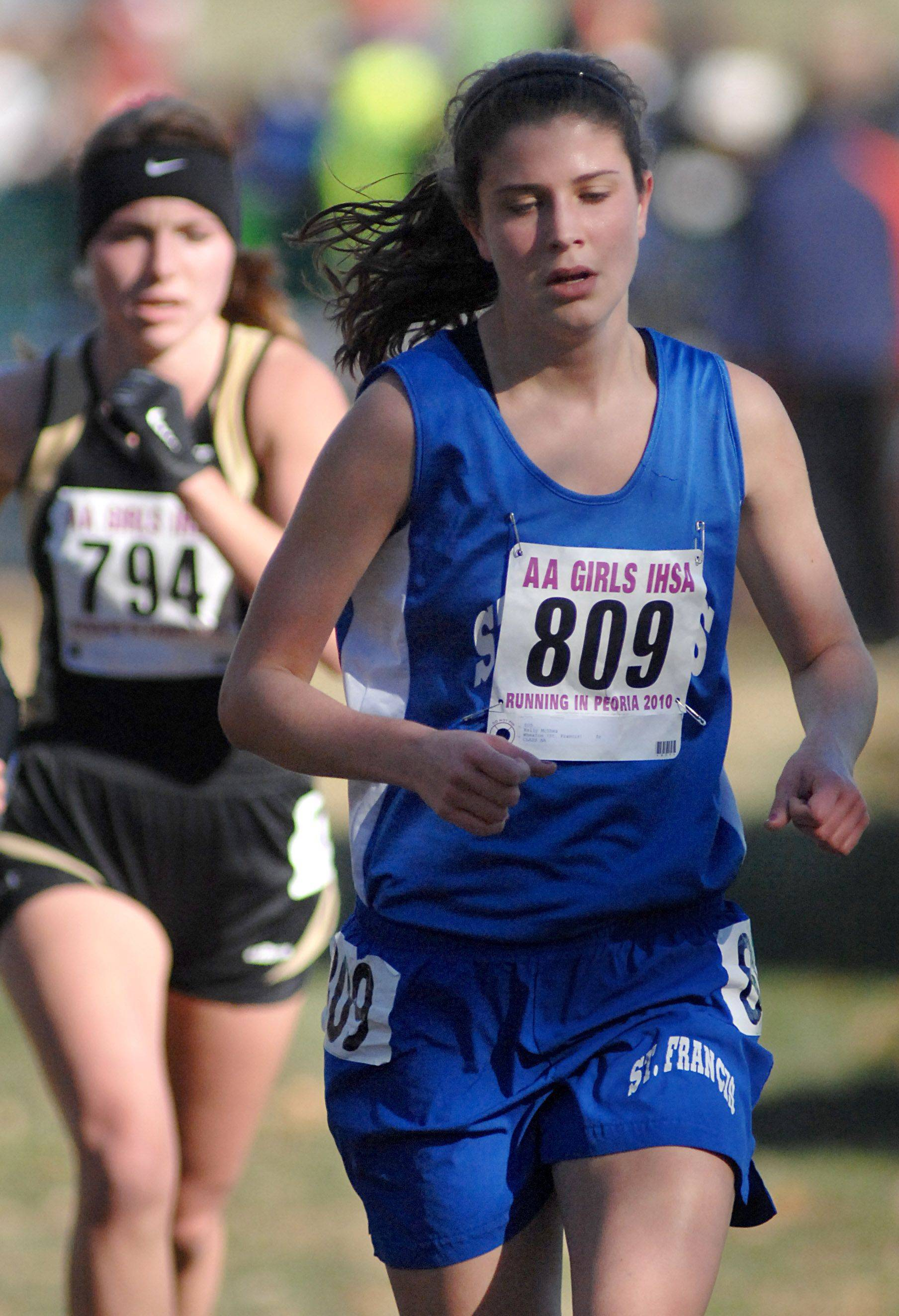 Wheaton St. Francis' Kelly McShea in the 2A class of the state cross country meet at Detweiller Park in Peoria on Saturday, November 6.