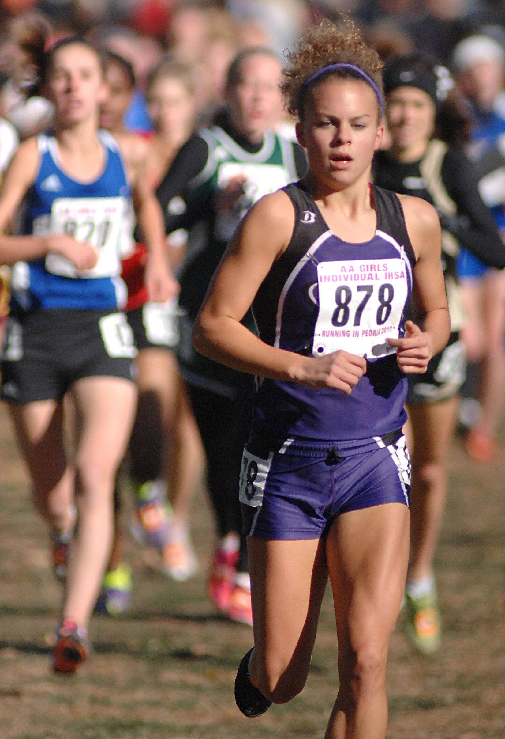 Hampshire's Cassie Kruse in the 2A class of the state cross country meet at Detweiller Park in Peoria on Saturday, November 6.