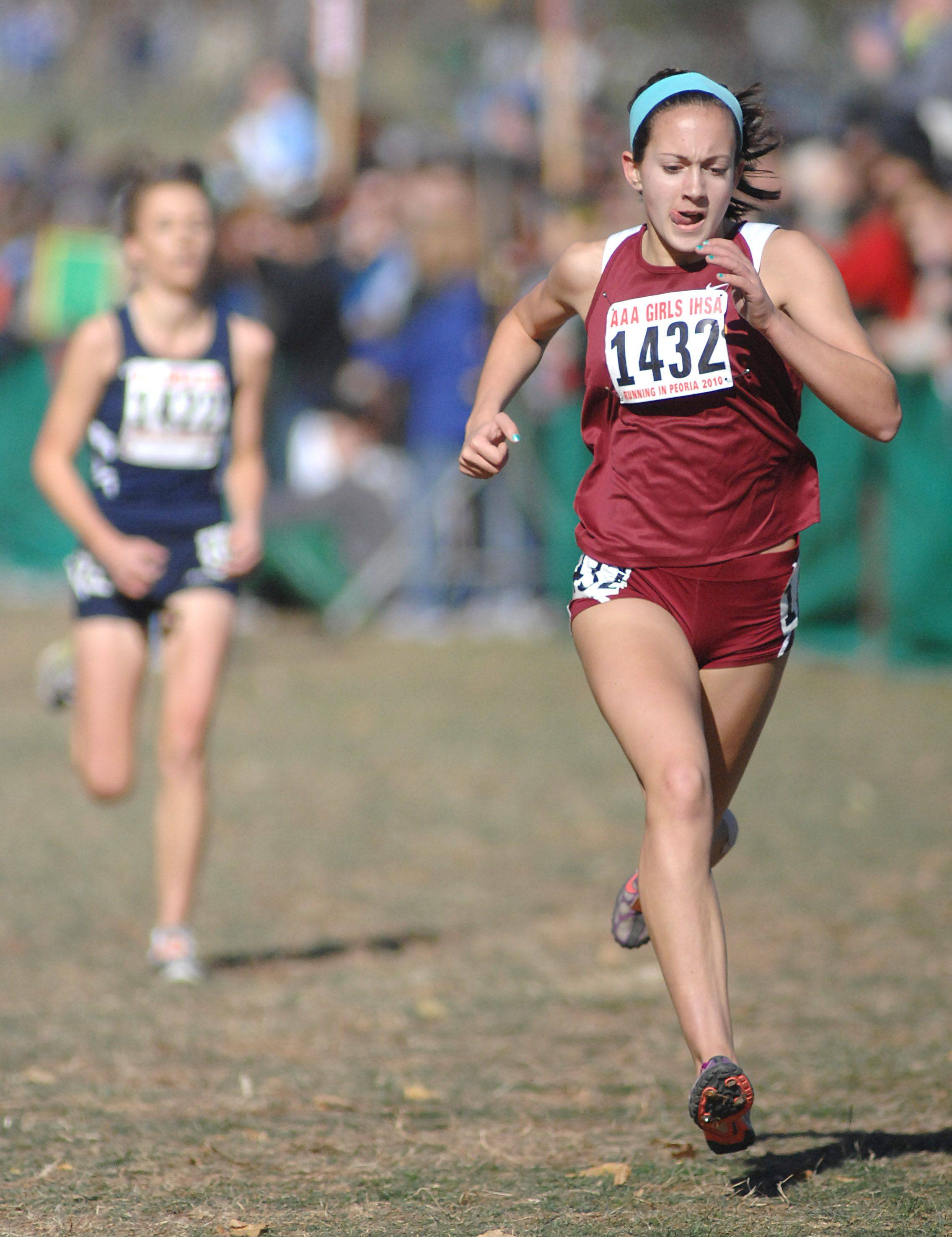 Schaumburg High School's Colette Falsey takes eighth place in the 3A class of the cross country state meet at Detweiller Park in Peoria on Saturday, November 6.