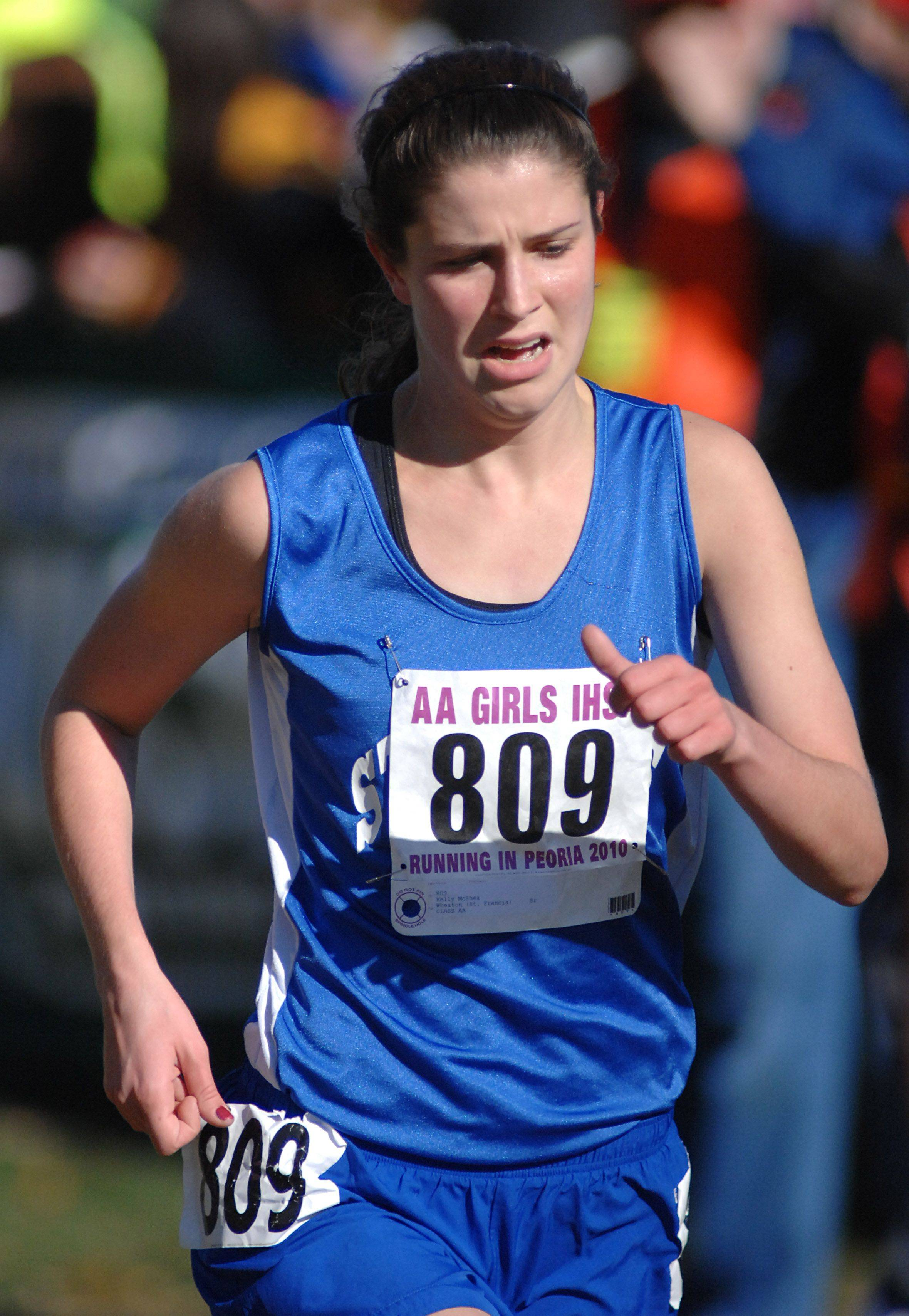 Wheaton St. Francis' Kelly McShea nears the finish line of the 2A class of the state cross country meet at Detweiller Park in Peoria on Saturday, November 6.