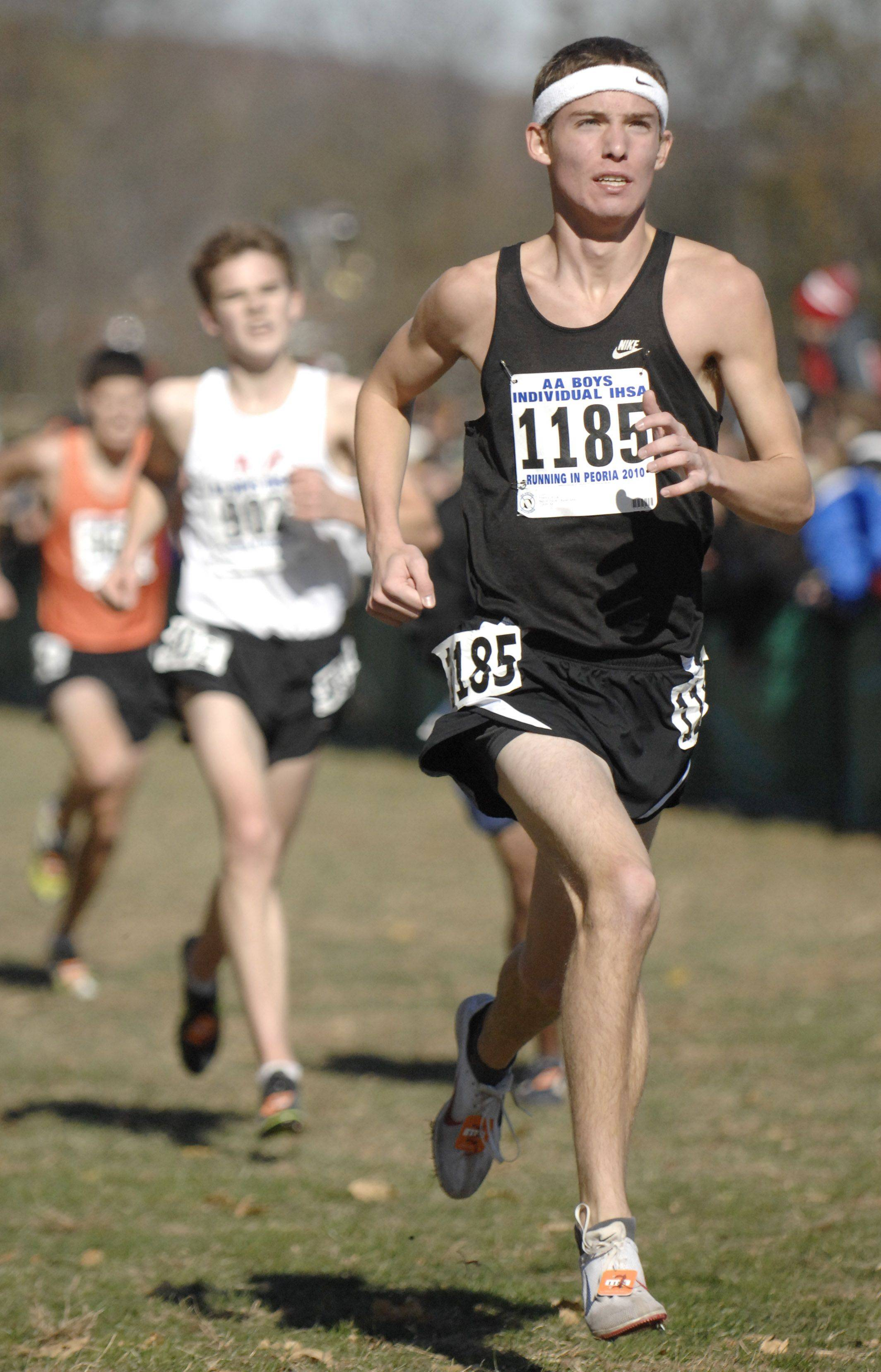 Kaneland's Trevor Holm nears the finish line in the 2A class of the state cross country meet at Detweiller Park in Peoria on Saturday, November 6.