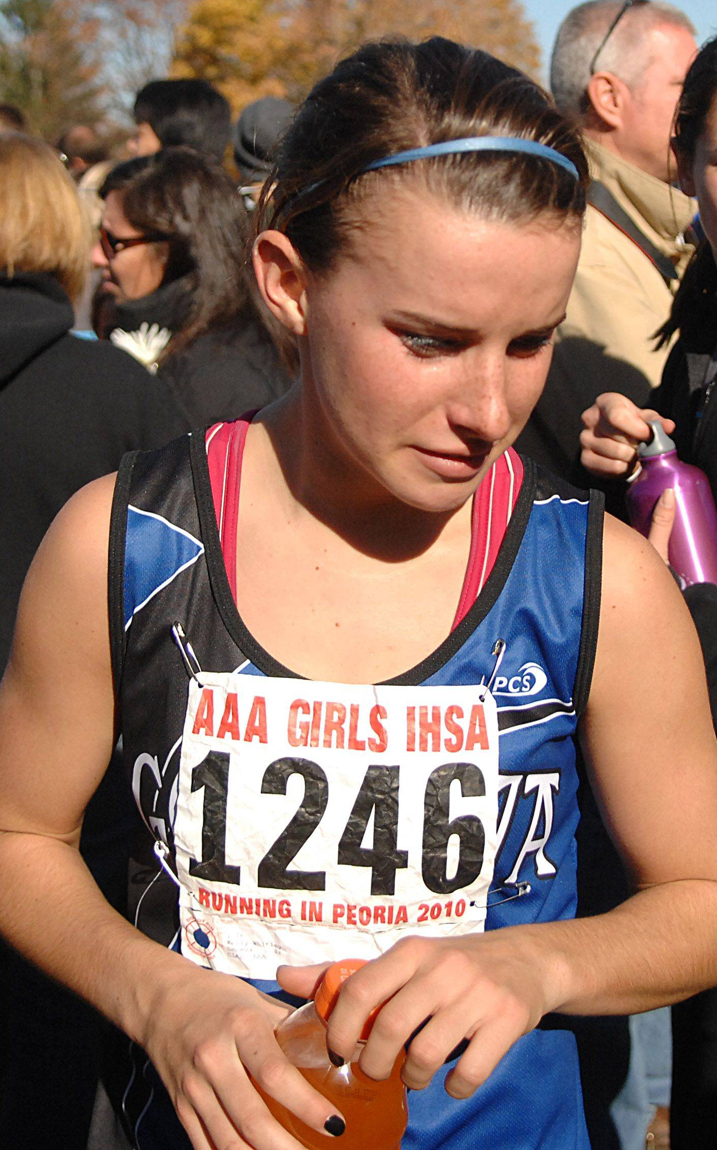 Geneva's Kelly Whitley leaves the course after the 3A class run at Detweiller Park in Peoria on Saturday, November 6.