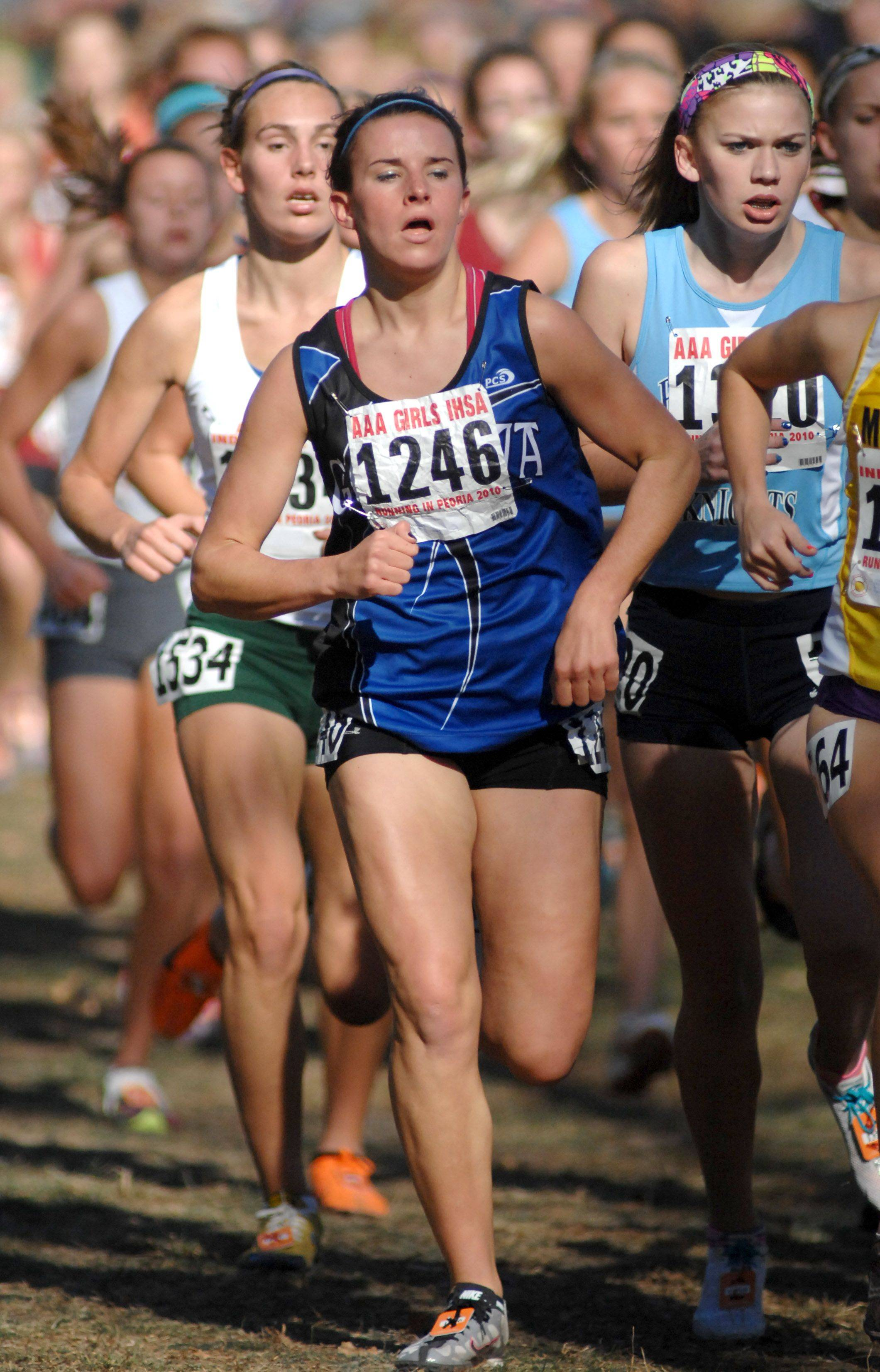 Geneva's Kelly Whitley in the 3A class of the cross country state meet at Detweiller Park in Peoria on Saturday, November 6.