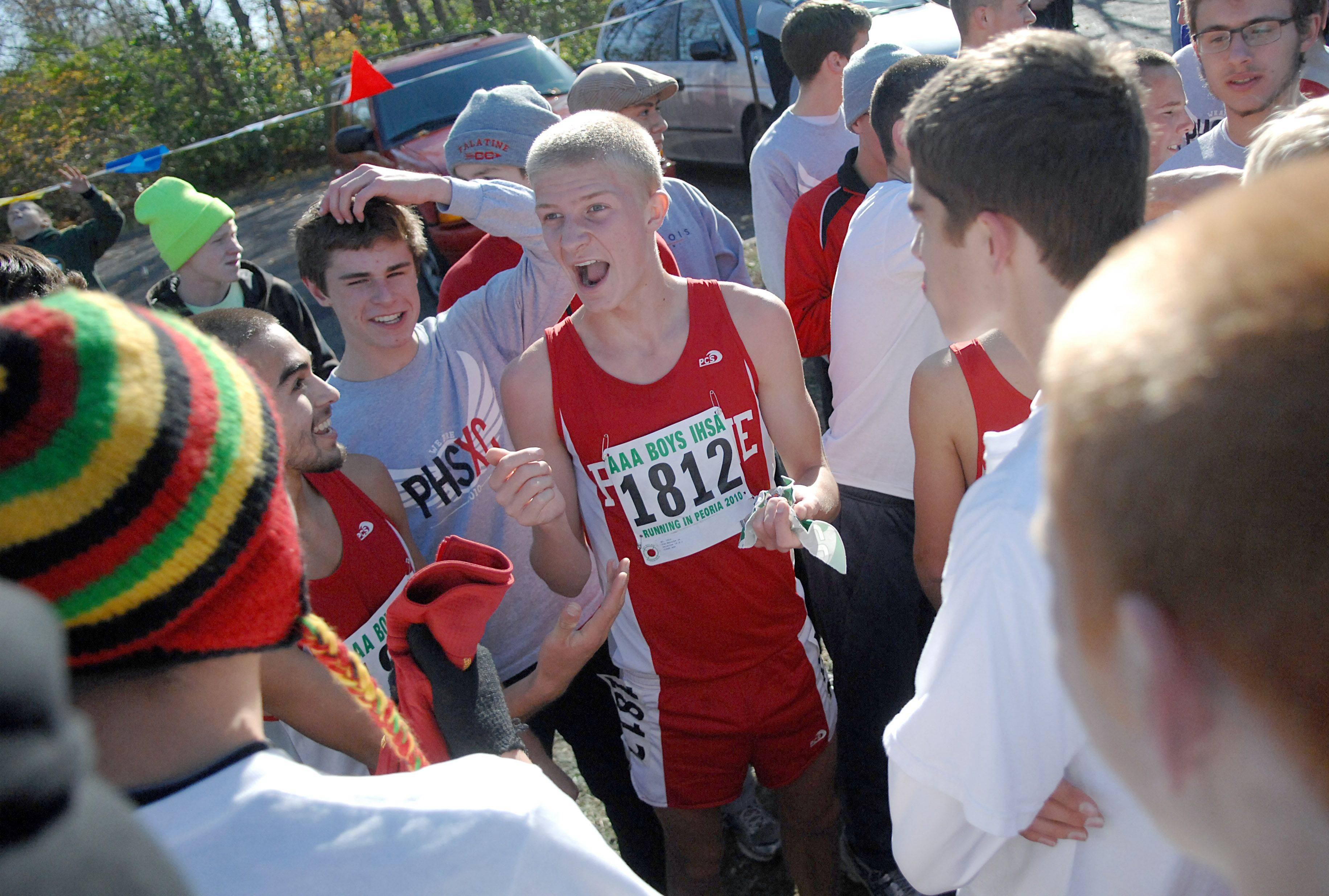 Palatine's Tim Meincke after the 3A class run of the state cross country meet at Detweiller Park in Peoria on Saturday, November 6.