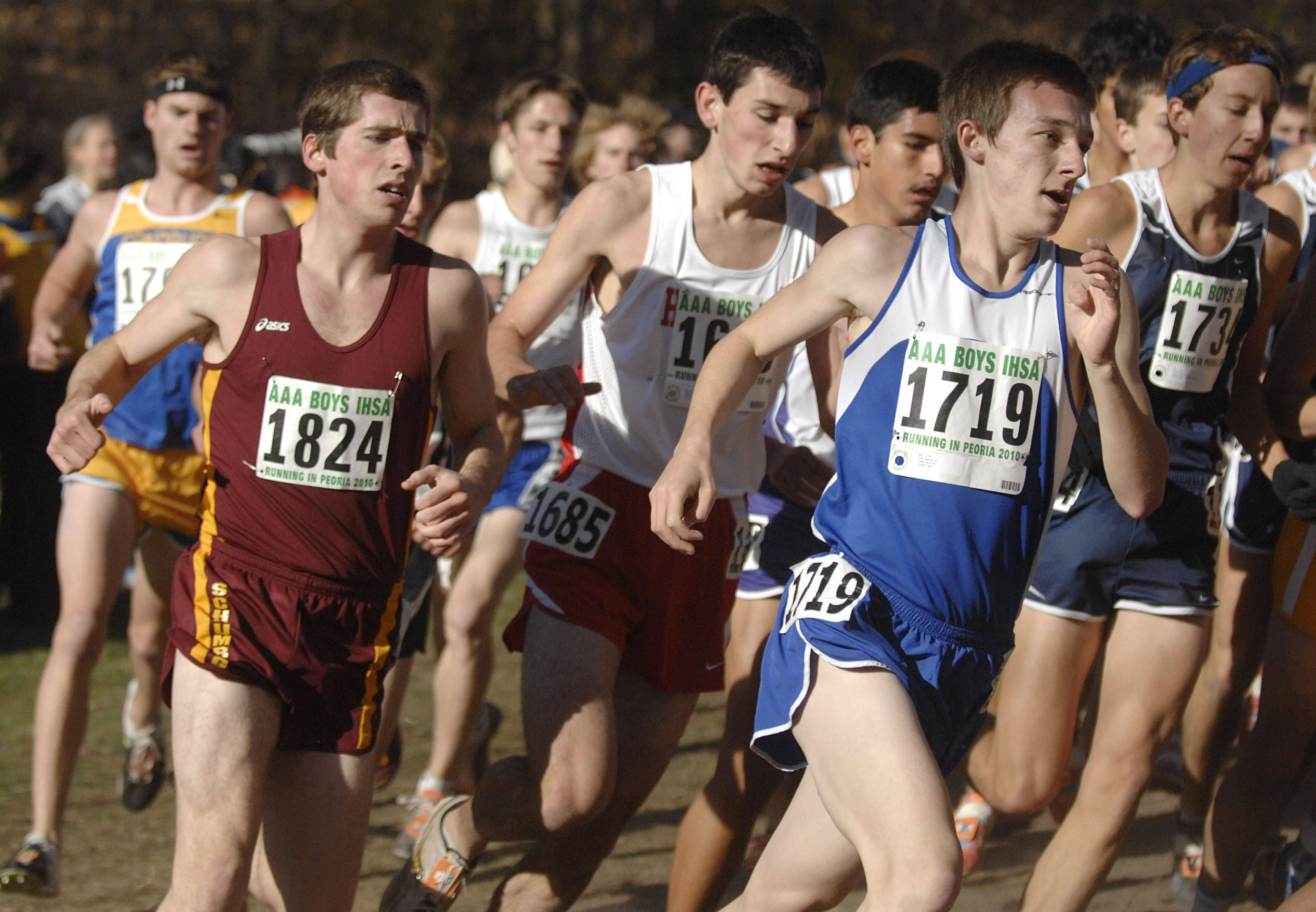 Schaumburg's Connor Prizy and Lake Zurich's Jon Smith in the 3A class of the state cross country meet at Detweiller Park in Peoria on Saturday, November 6.