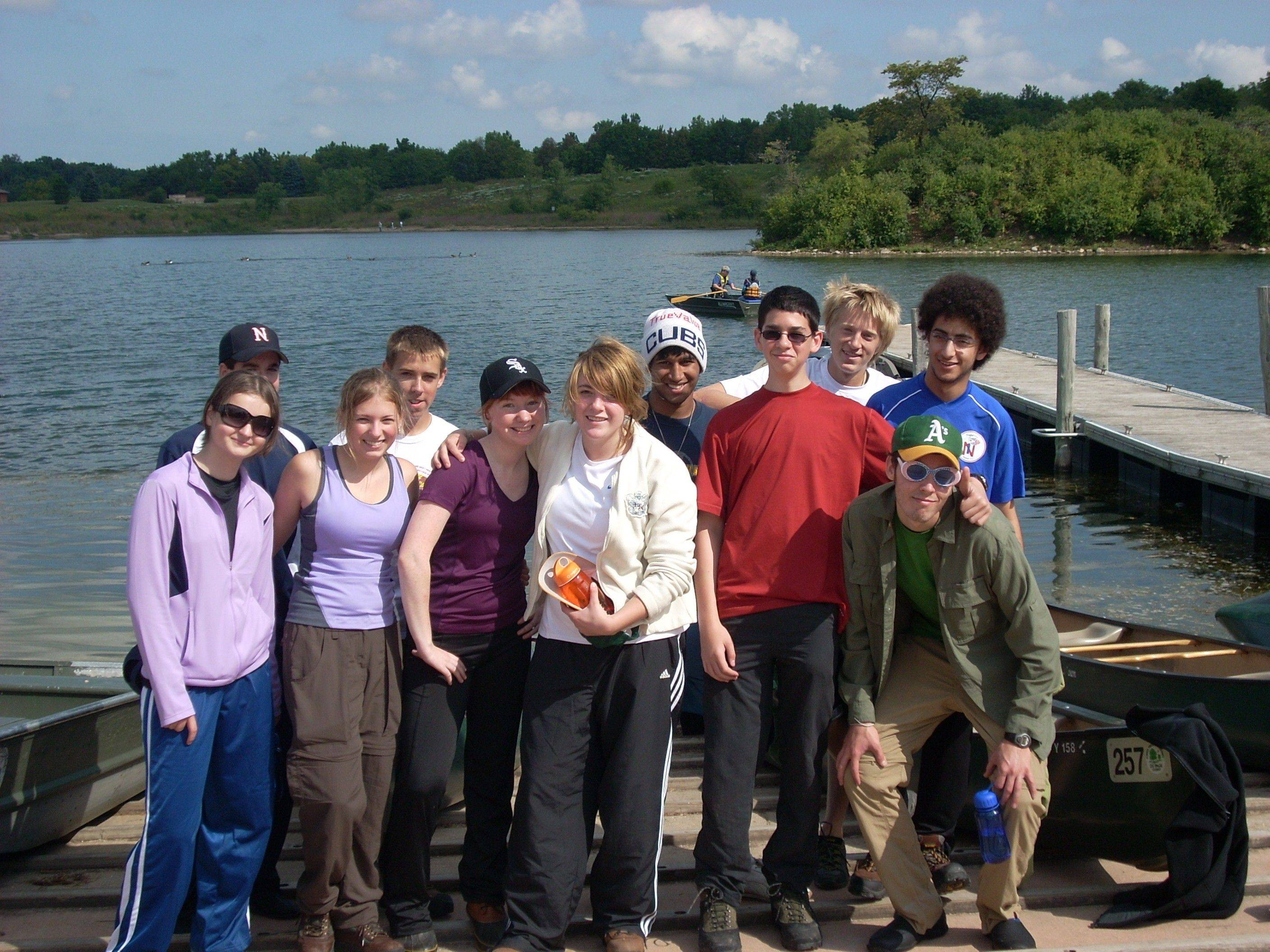 "Students in the Neuqua Valley adventure studies class pose for a photo. Antinette ""Toni"" Keller is in the purple shirt and Chicago White Sox hat."