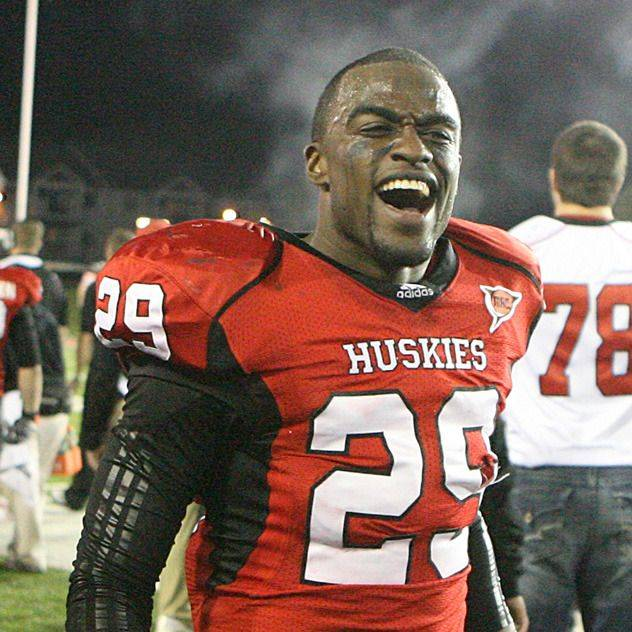 Northern Illinois linebacker Jordan Delegal celebrates after the Huskies' big victory Tuesday night in DeKalb.