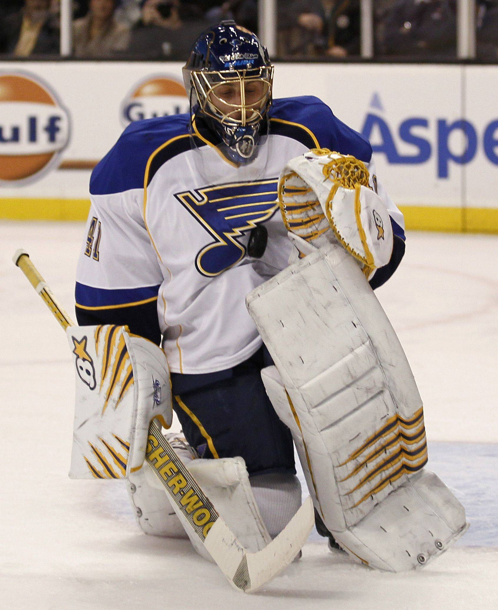 St. Louis Blues goalie Jaroslav Halak makes a save against the Boston Bruins during the second period of their 2-1 shootout win Saturday.