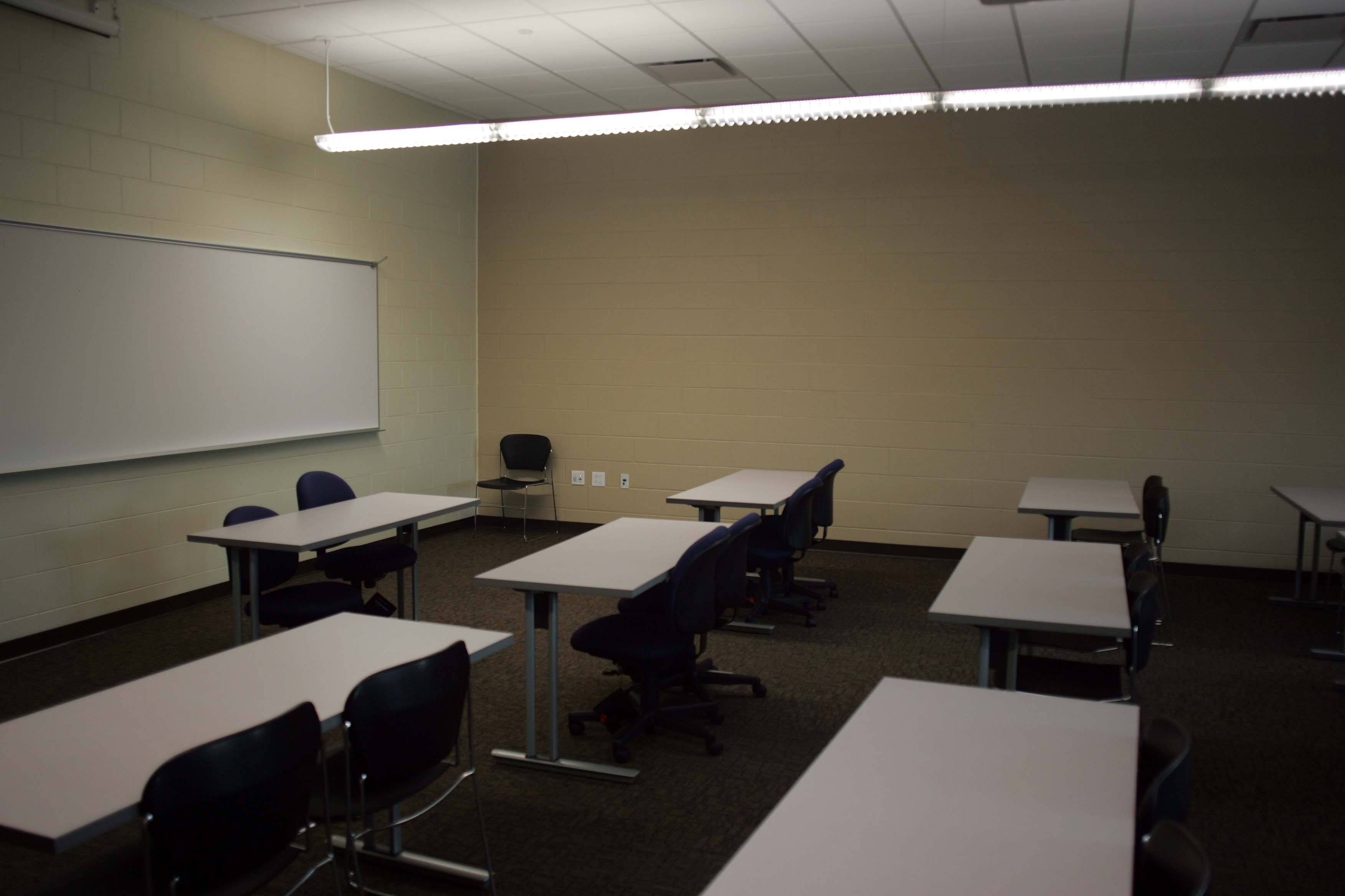 "Room 128 in the new Multipurpose Classroom Building reflects the ""smart"" design of the building, including lights that turn on when people enter the room."