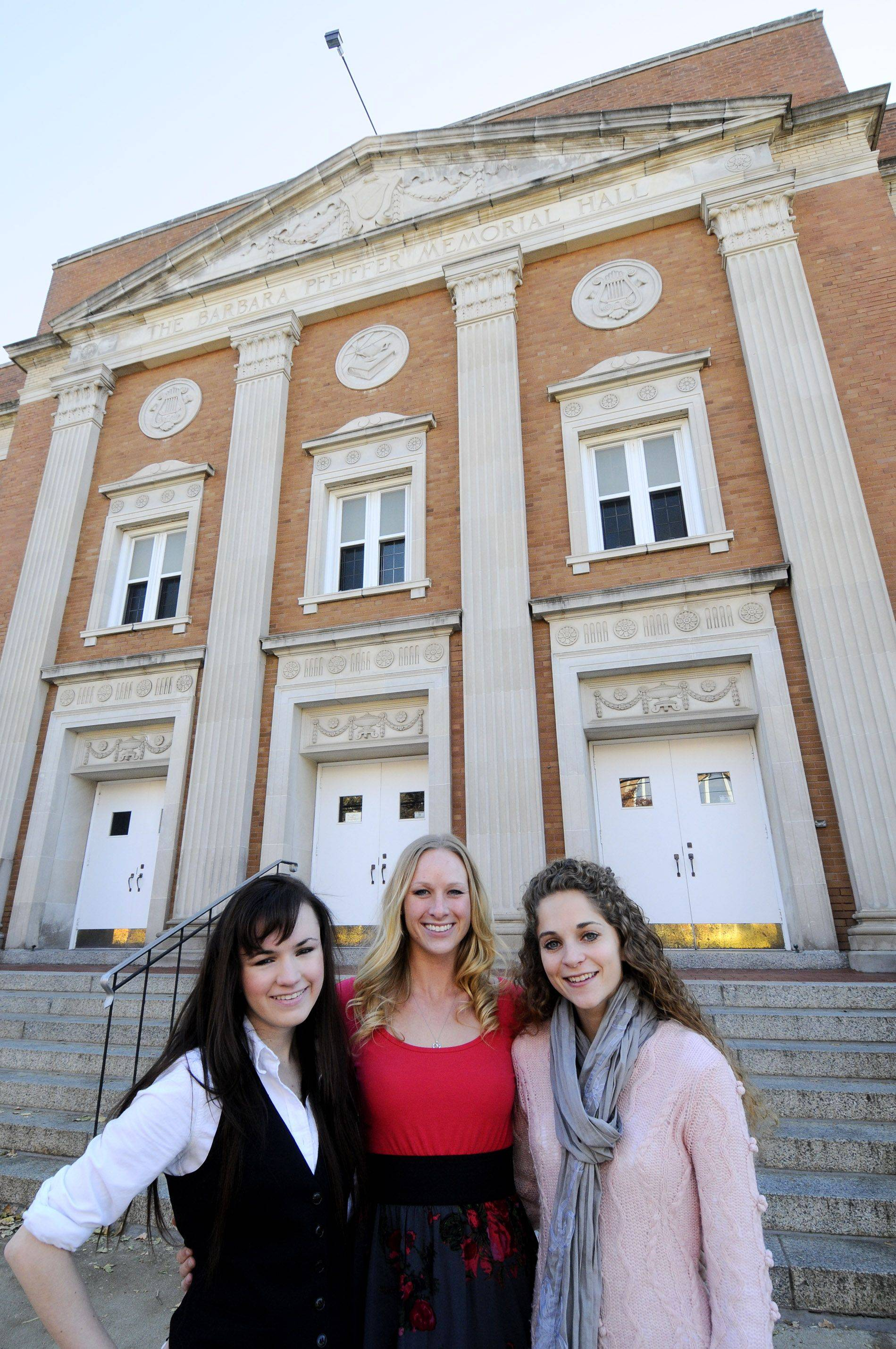"Grace Heimerl, Lauren Smith and Angie Snodgrass teamed up to provide an unusual solution when Snodgrass lost her voice during a performance of ""The Phantom of the Opera"" over the weekend at Naperville's North Central College."