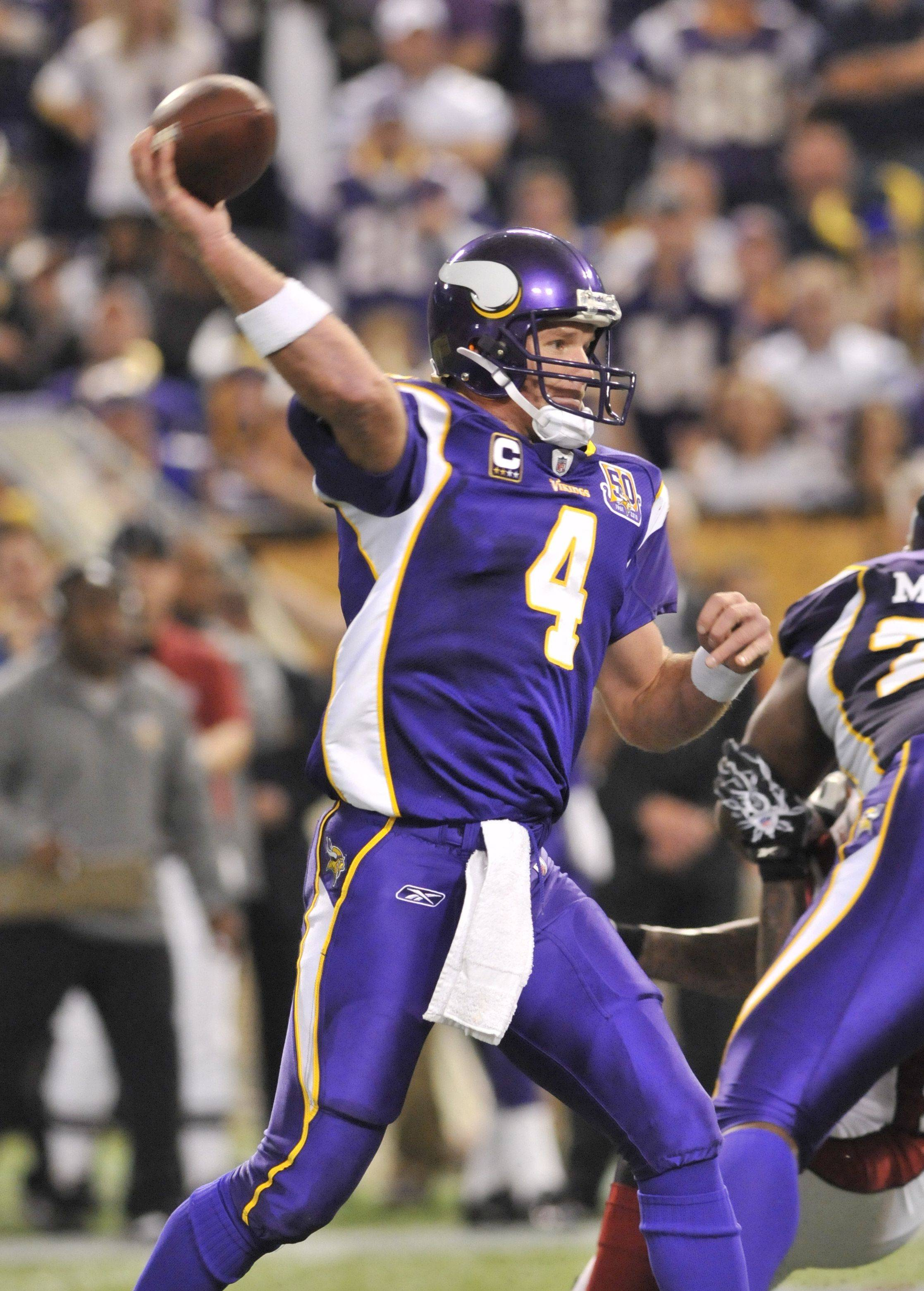 Minnesota Vikings quarterback Brett Favre throws against the Arizona Cardinals in the second half of an NFL football game Sunday, Nov. 7, 2010 in Minneapolis. The Vikings won 27-24 in overtime.