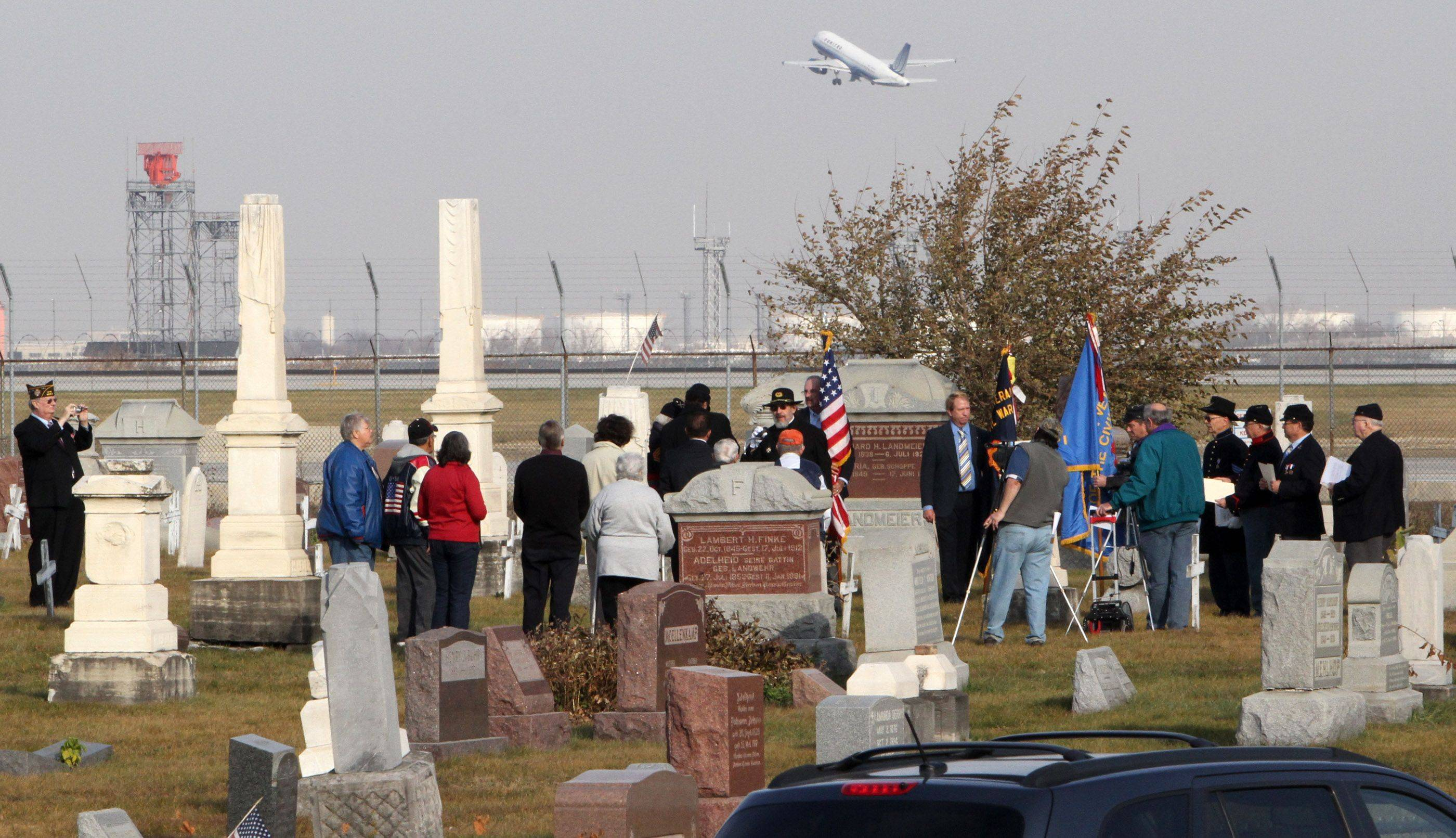 National Chaplain for the Sons of Union Veterans of the Civil War held a memorial ceremony on Veterans Day at Johannes Cemetery just south of Chicago O'Hare International Airport on Thursday, November 11.