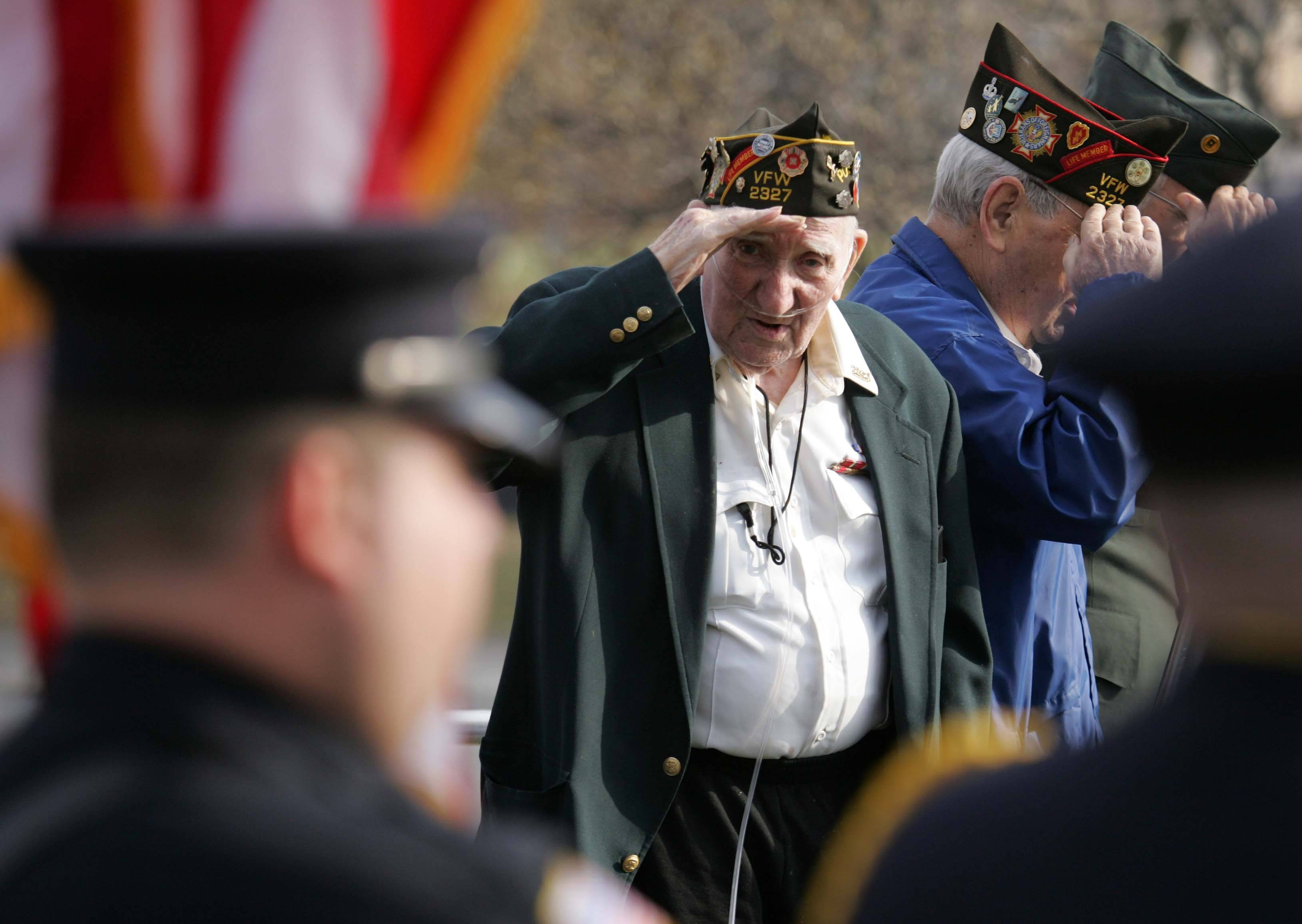 World War II veteran Jim Donaldson, who served in the Navy salutes the flag as the colors are posted during the South Elgin VFW Post 2327 Veterans Day service at Panton Mill Park in South Elgin Thursday.