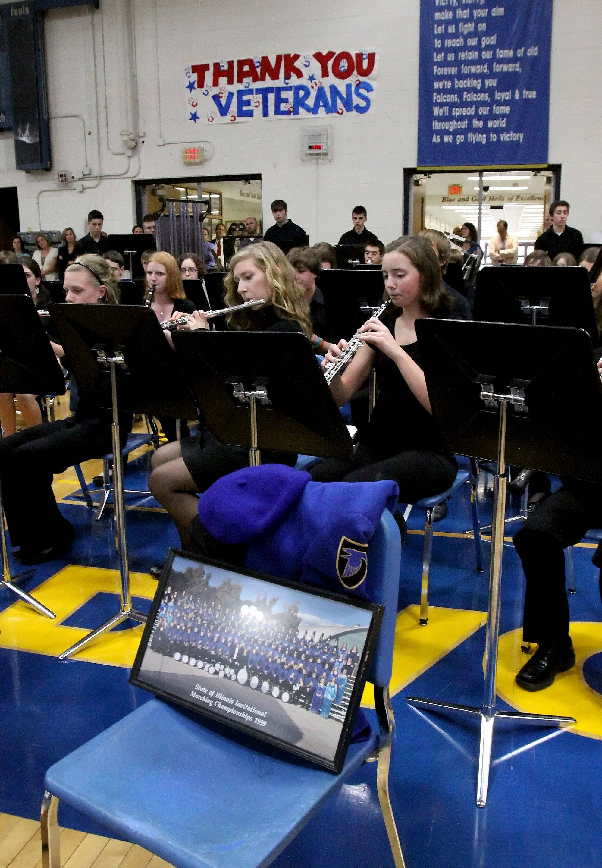 The Wheaton North Wind Ensemble performs at a Veterans Day event honoring Medal of Honor recipient Rob Miller at Wheaton North High School on Thursday. Miller was a member of the band when he was a student at North.