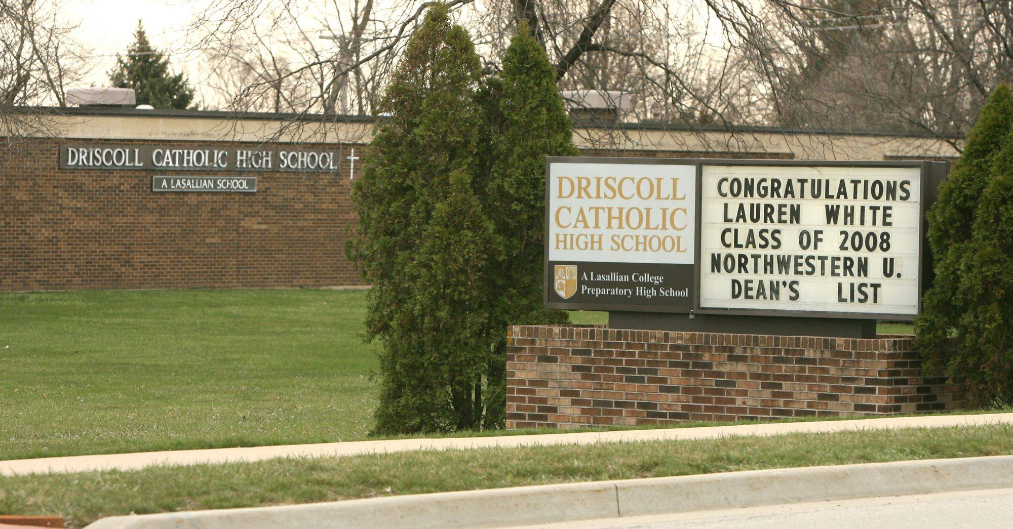 A ceremonial start of the demolition of the Driscoll Catholic High School building in Addison is set for 10 a.m. Monday.