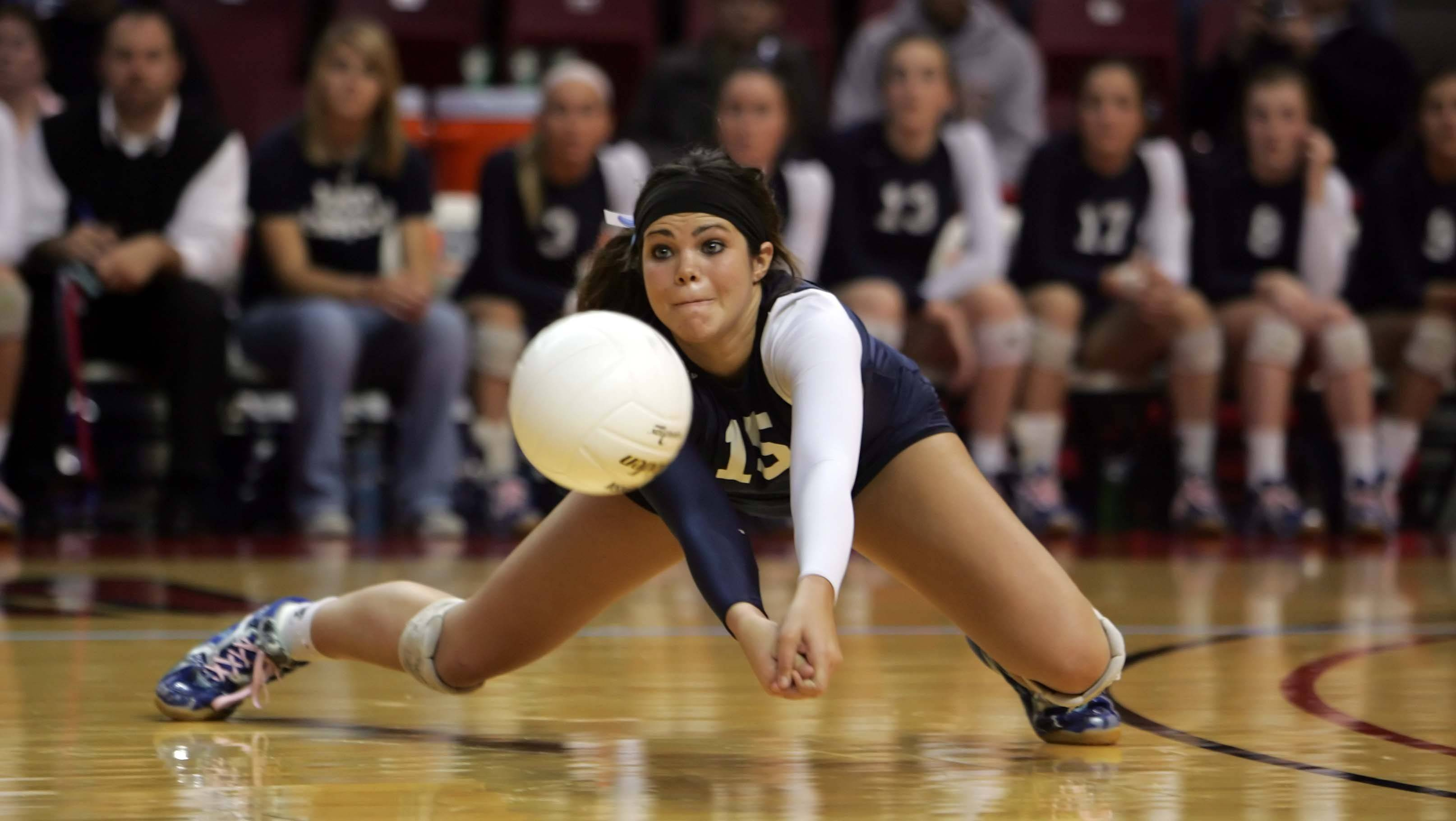 Cary-Grove setter Colleen Smith, 15, pulls out a dig against Lyons in the IHSA Class 4A State championship match Saturday, November 13, 2010 at Redbird Arena in Normal. The Trojans lost the match in three games and finished second.