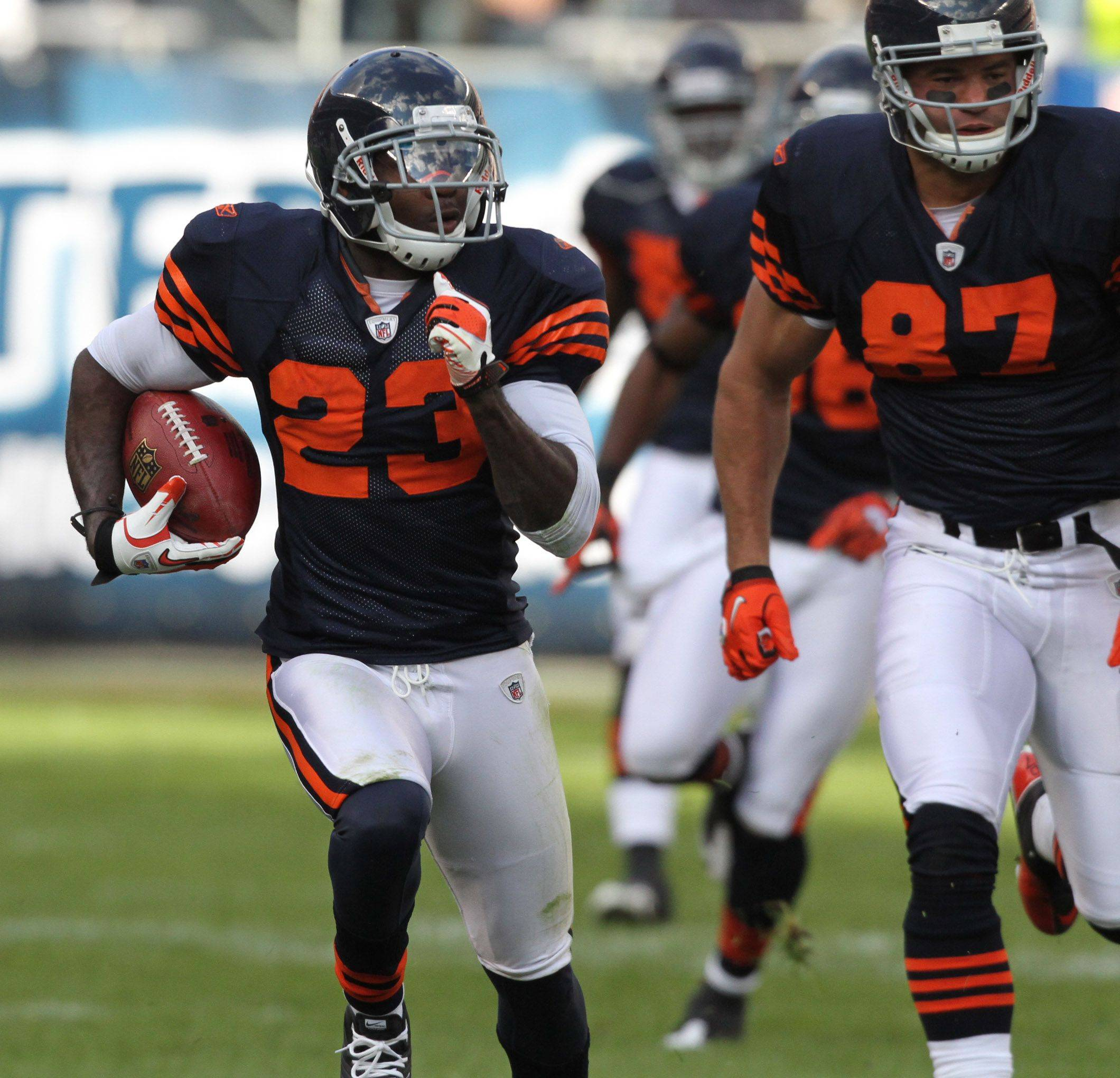 Chicago Bears's Devin Hester picks up big yardage on punt return against Minnesota Vikings in the second half.