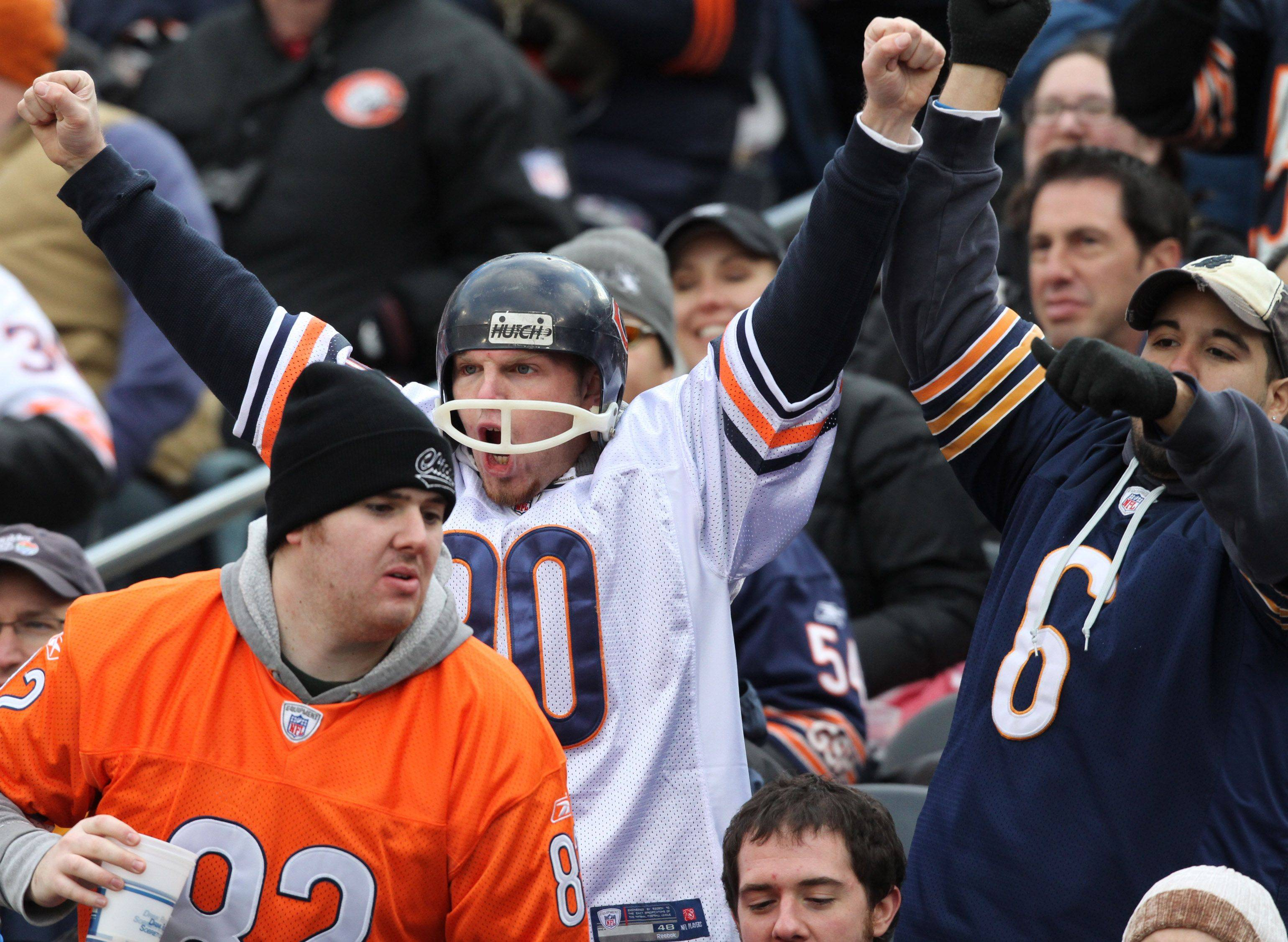 Chicago Bears fans celebrate a touchdown against Minnesota Vikings.