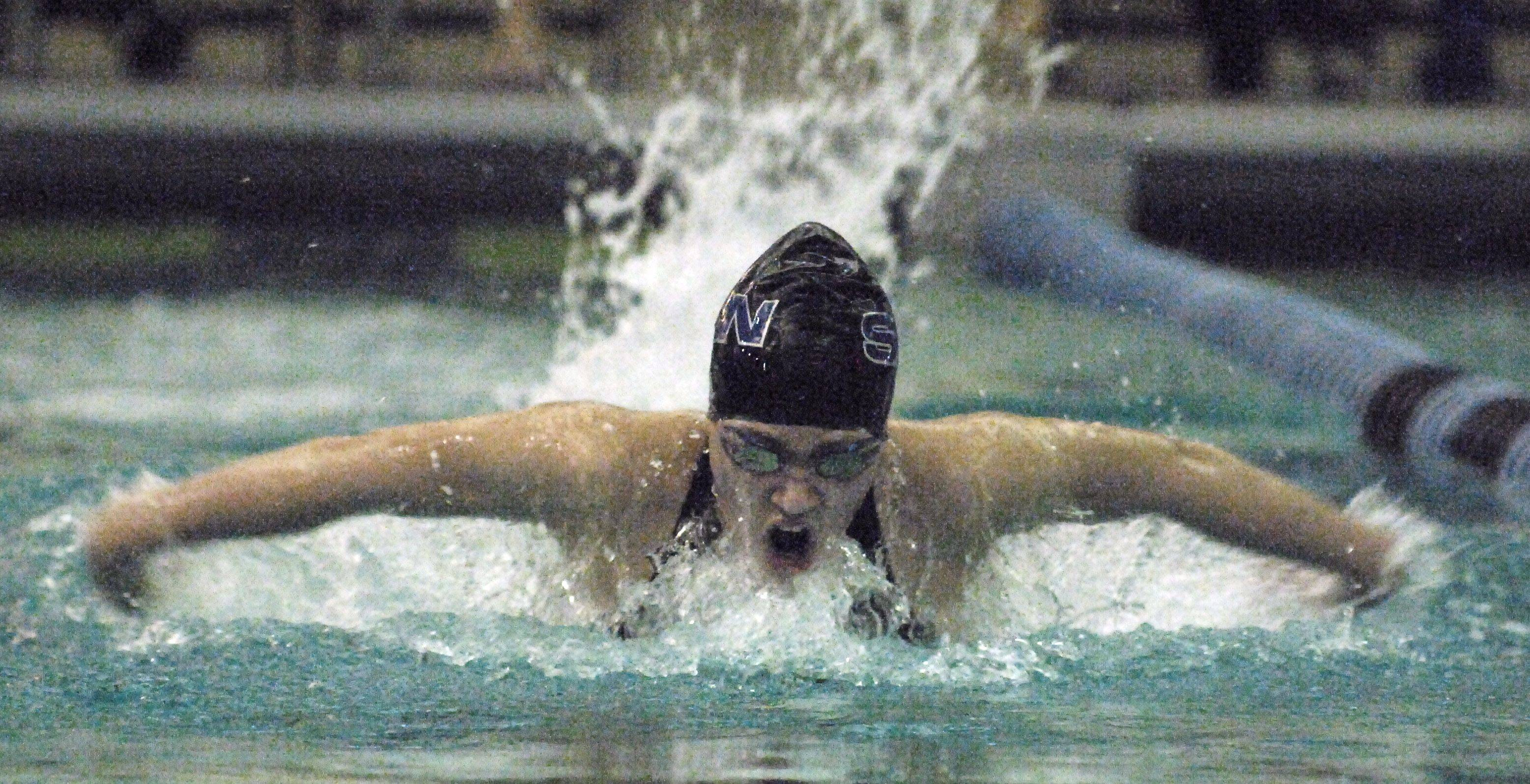 St. Charles North's Chole Tykal in the 200-yard individual medley at the St. Charles North swimming sectional on Saturday.