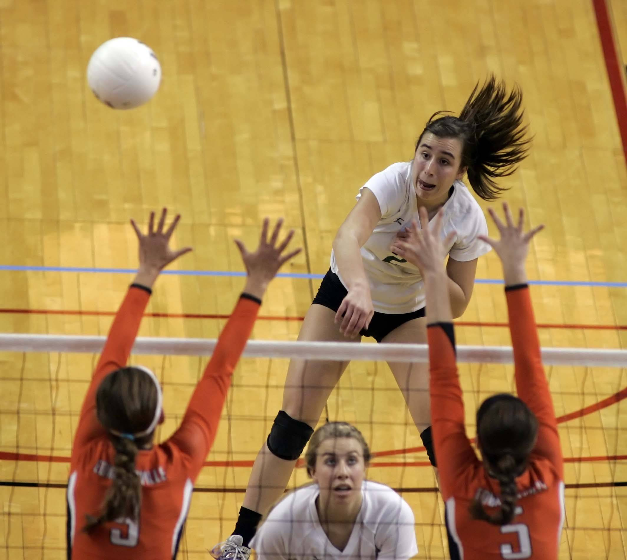 York outside hitter Caroline Rose, 2, with a spike during the IHSA Class 4A third place match Saturday at Redbird Arena in Normal.