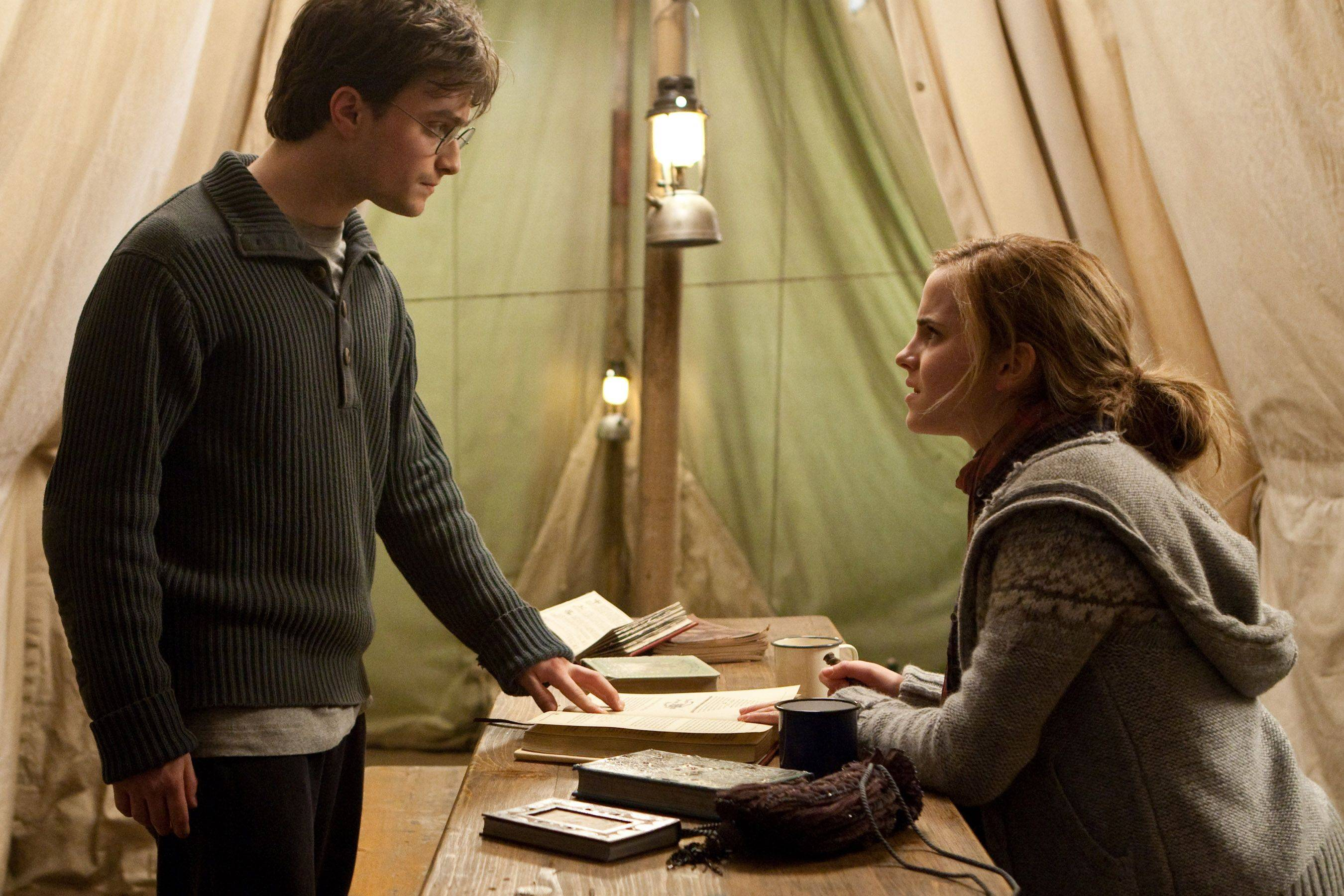 In hiding and living in a tent Harry (Daniel Radcliffe) and Hermione (  sc 1 st  Daily Herald & Gloomy u0027Deathly Hallowsu0027 sets the stage for Harry Potteru0027s final spell