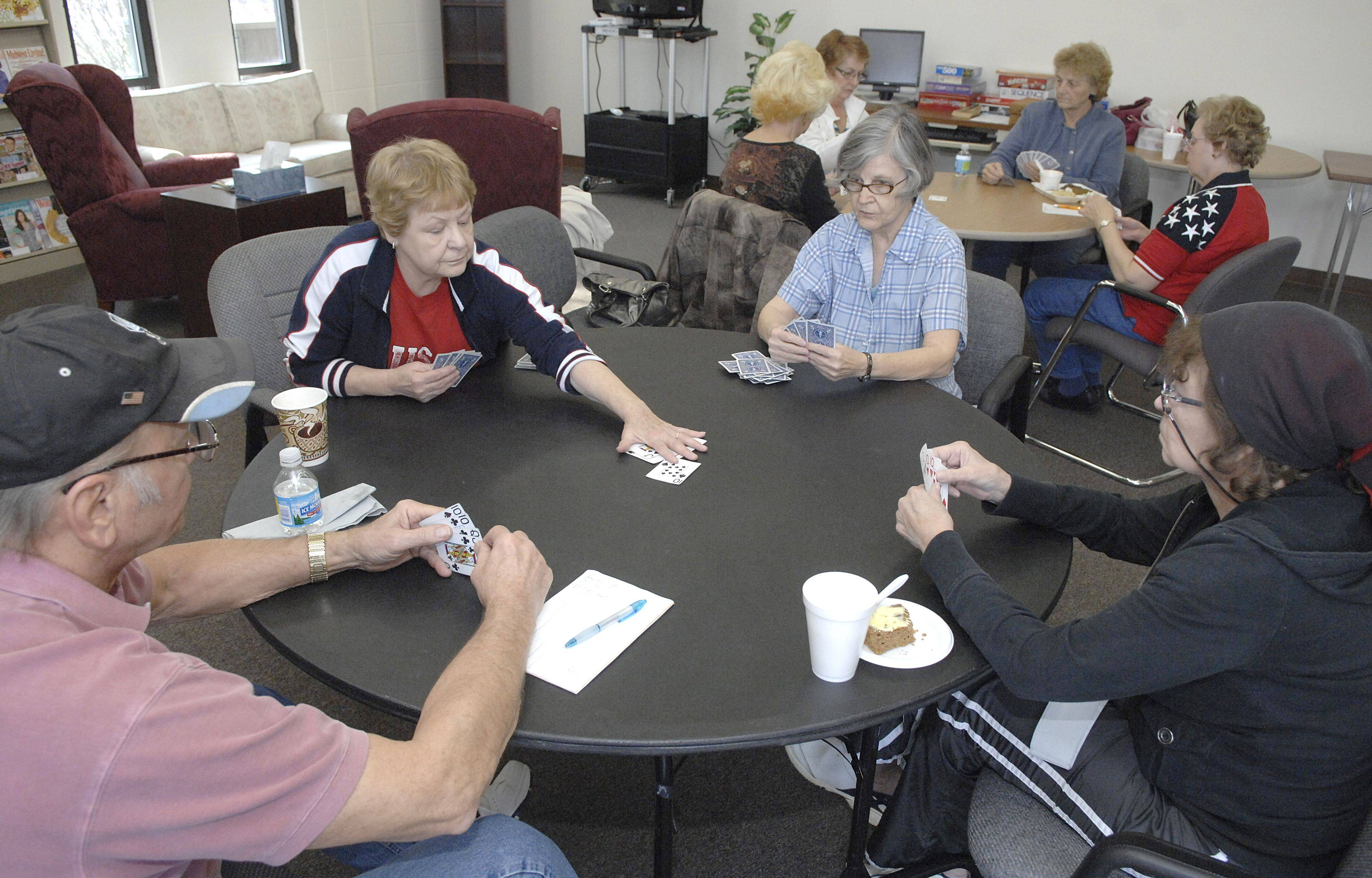 Dan Palmer of North Aurora, Margaret Hilger of Sugar Grove, Ruth Weekly of Sugar Grove and Sandra McClellen of Elburn play a hand of pinochle at the Sugar Grove Older Adult Center earlier this month.