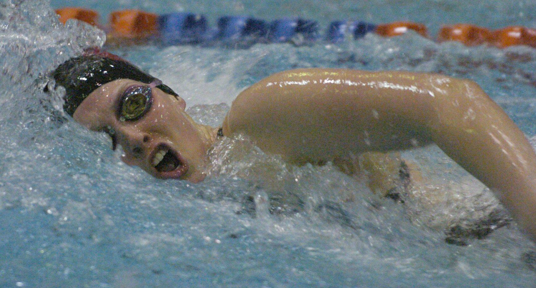 Erika Elliot of Barrington swims the 100-yard freestyle during Friday's girls state swimming prelims at Evanston High School.