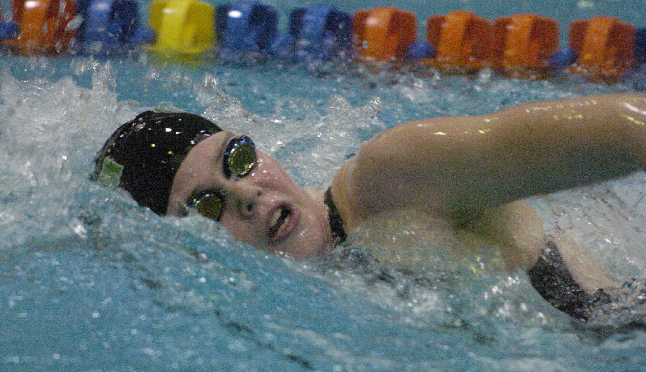 Stevenson's Madison Blaydes swims the 200-yard freestyle during Friday's girls state swimming prelims at Evanston High School.