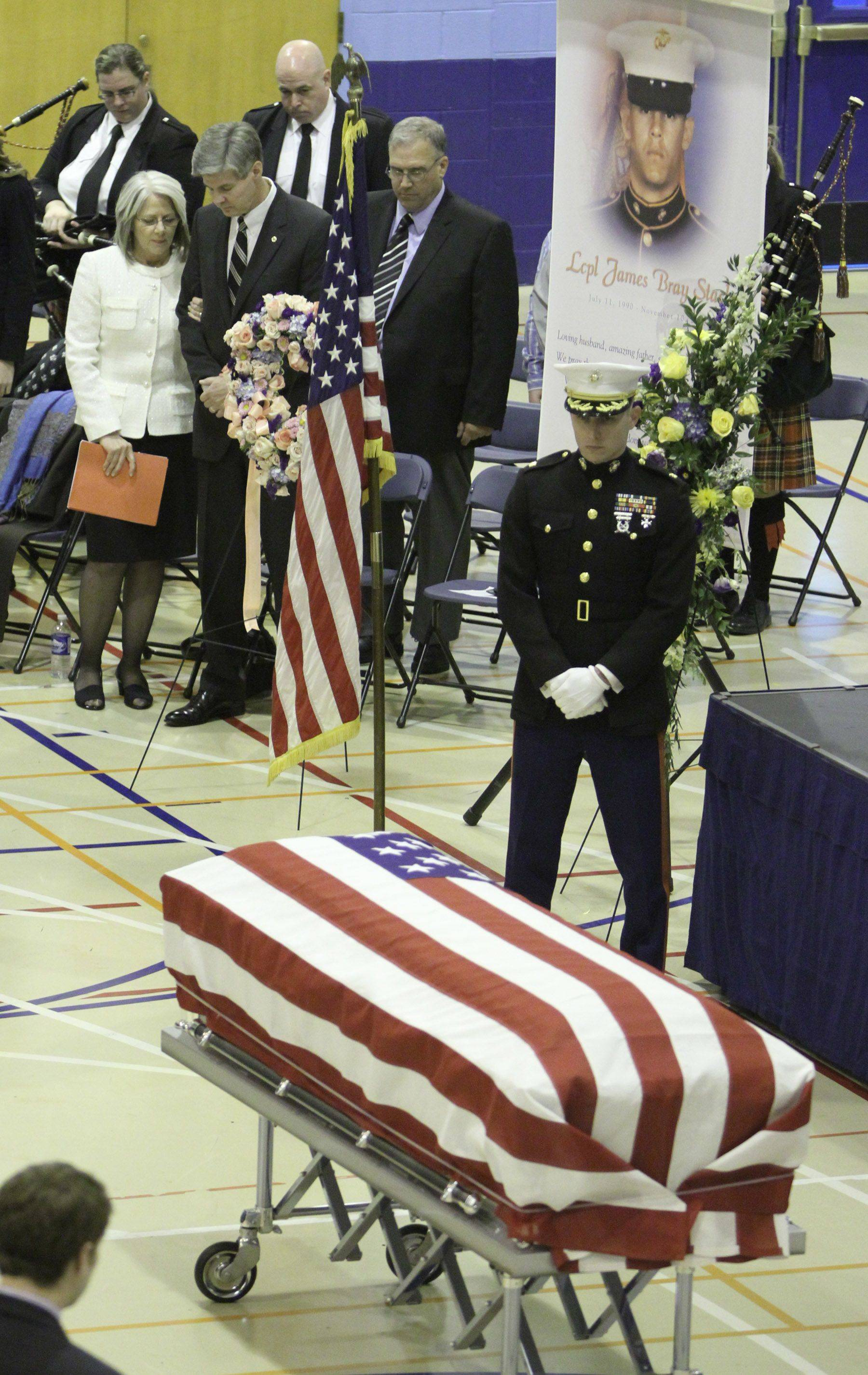 Services at Prospect High School field house for 20-year-old Marine James Bray Stack, from Arlington Heights who was killed in Afghanistan last week. Stack was buried with full military honors in Memory Gardens Cemetery in Arlington Heights. Saturday, November 20, 2010.