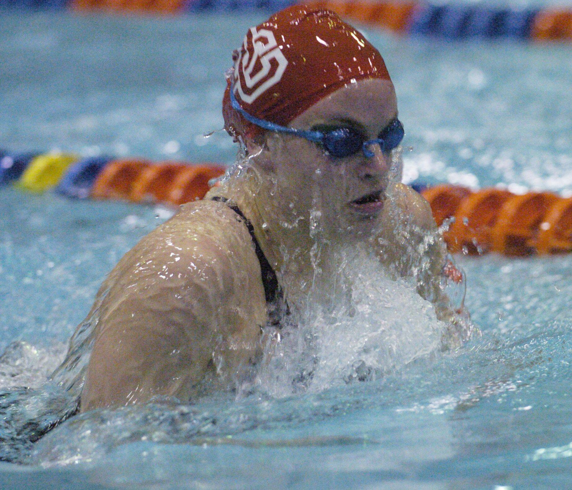 Colleen Champa swims the 100-yard breast stroke during Saturday's state swimming finals at Evanston.