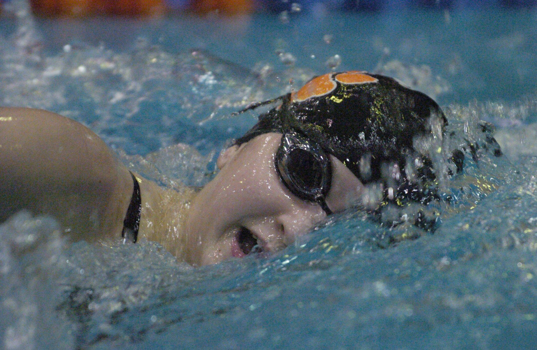 Libertyville's Morgan Dickson swims the 500-yard freestyle during Saturday's state swimming finals at Evanston.