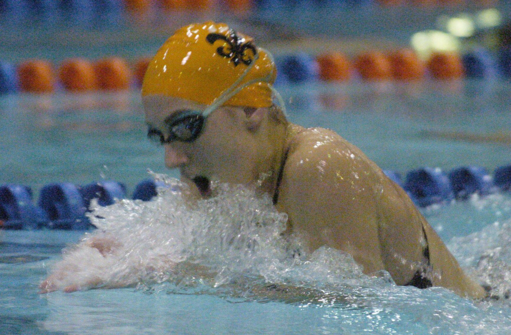 Emma Smith of St. Charles East swims breast stroke during the 200-yard individual medley during Saturday's state swimming finals at Evanston.