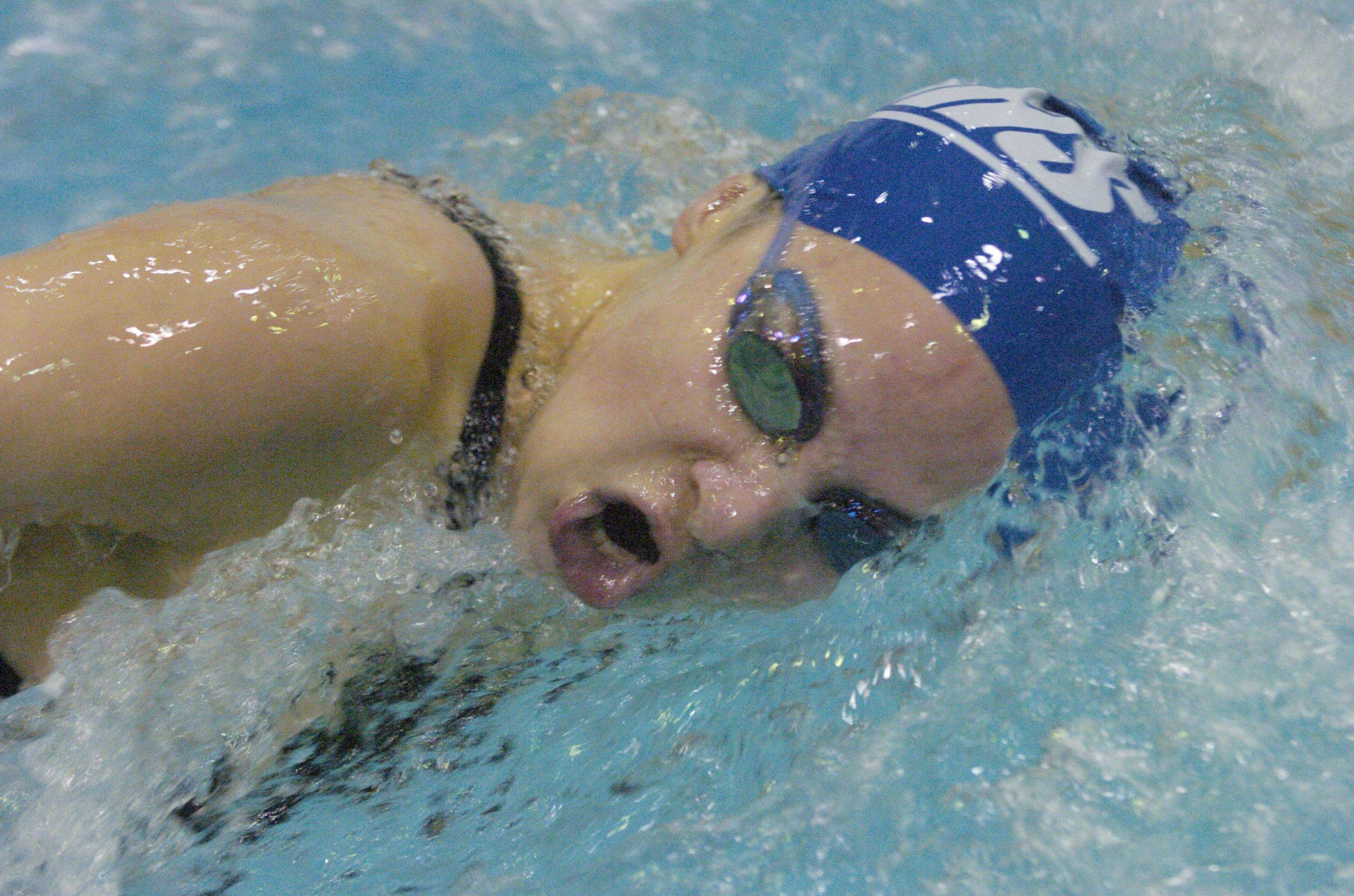 Zoe Eldridge of Vernon Hills swims the 200-yard freestyle during Saturday's state swimming finals at Evanston.