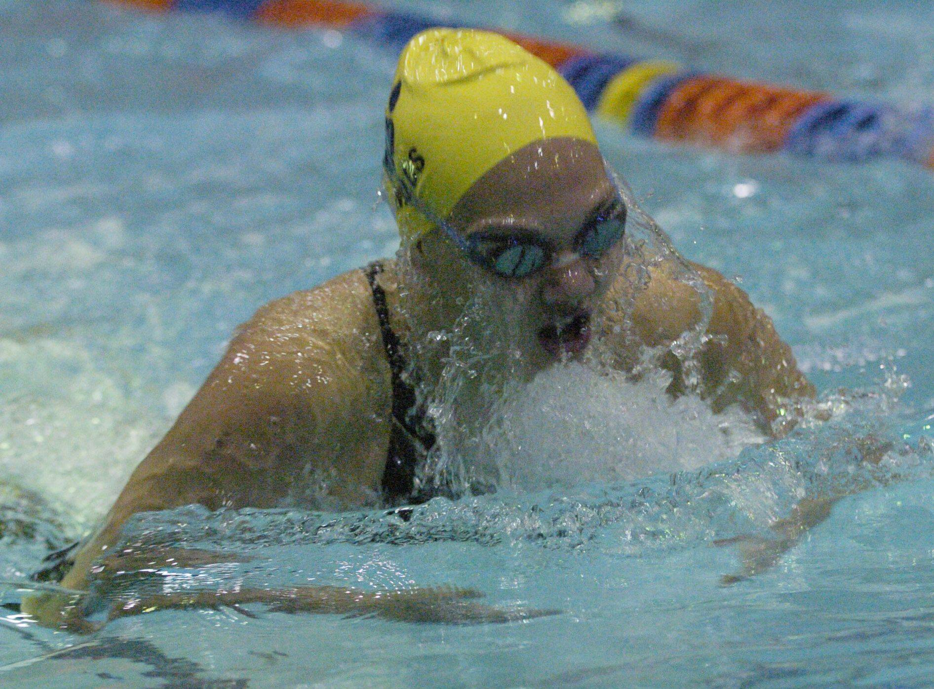 Megan Childs of Neuqua Valley swims the 100-yard breast stroke during Saturday's state swimming finals at Evanston.