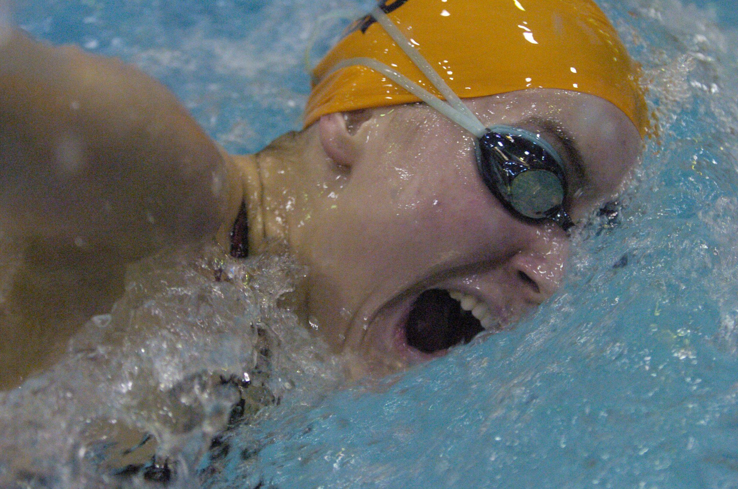 Emma Smith of St. Charles East swims the 500-yard freestyle during Saturday's state swimming finals at Evanston.