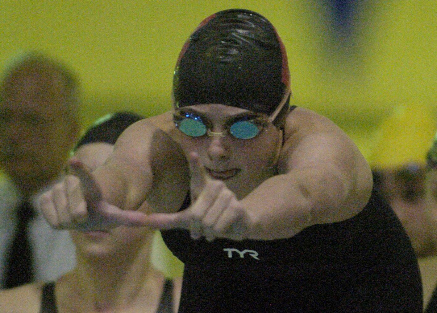 Barrington's Mekenna Scheitlin sets her sights on teammate Kate Valentine during the 200-yard freestyle relay of Saturday's state swimming finals at Evanston.